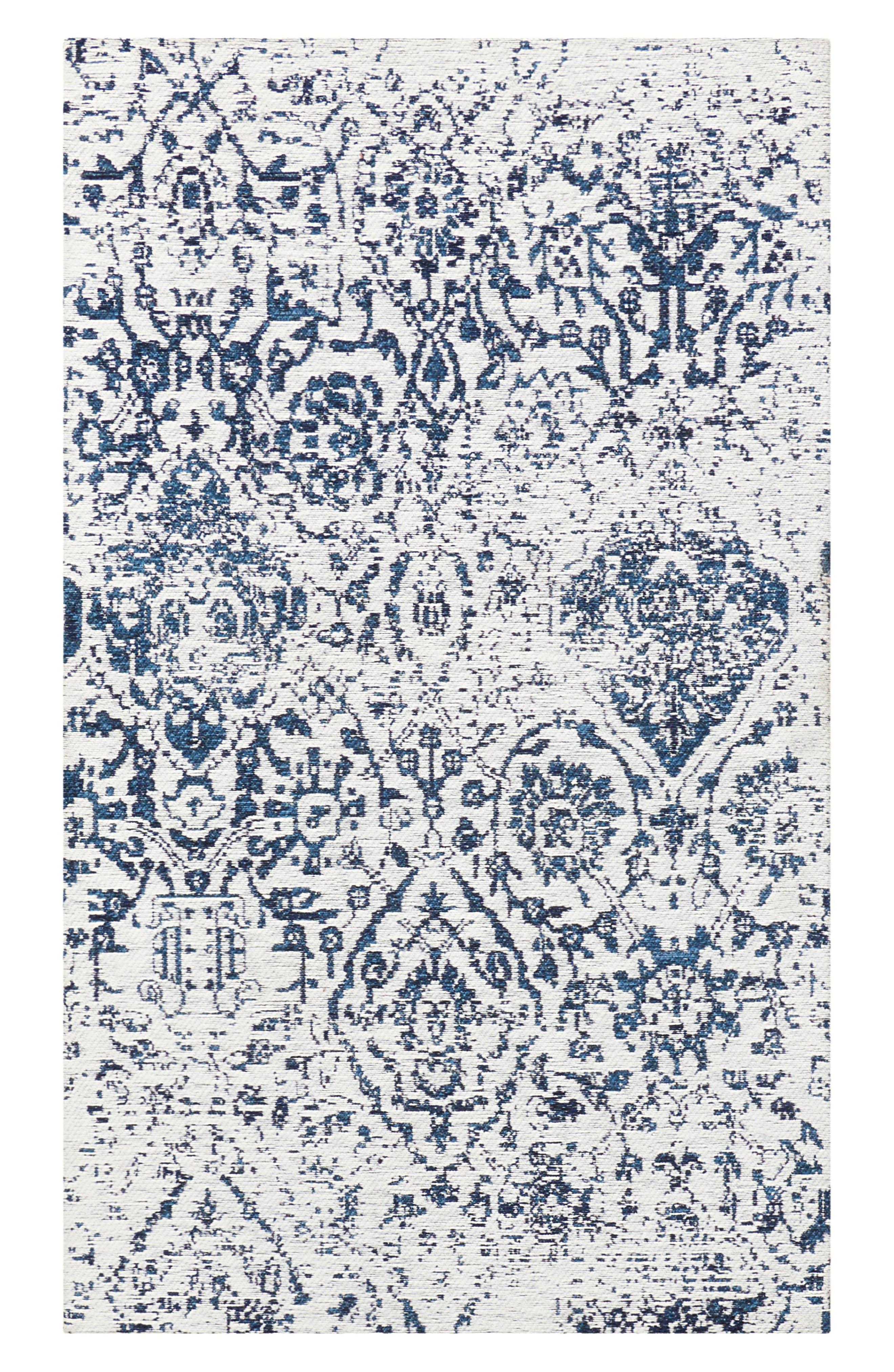 Damask Rug,                             Main thumbnail 1, color,                             Ivory/ Navy