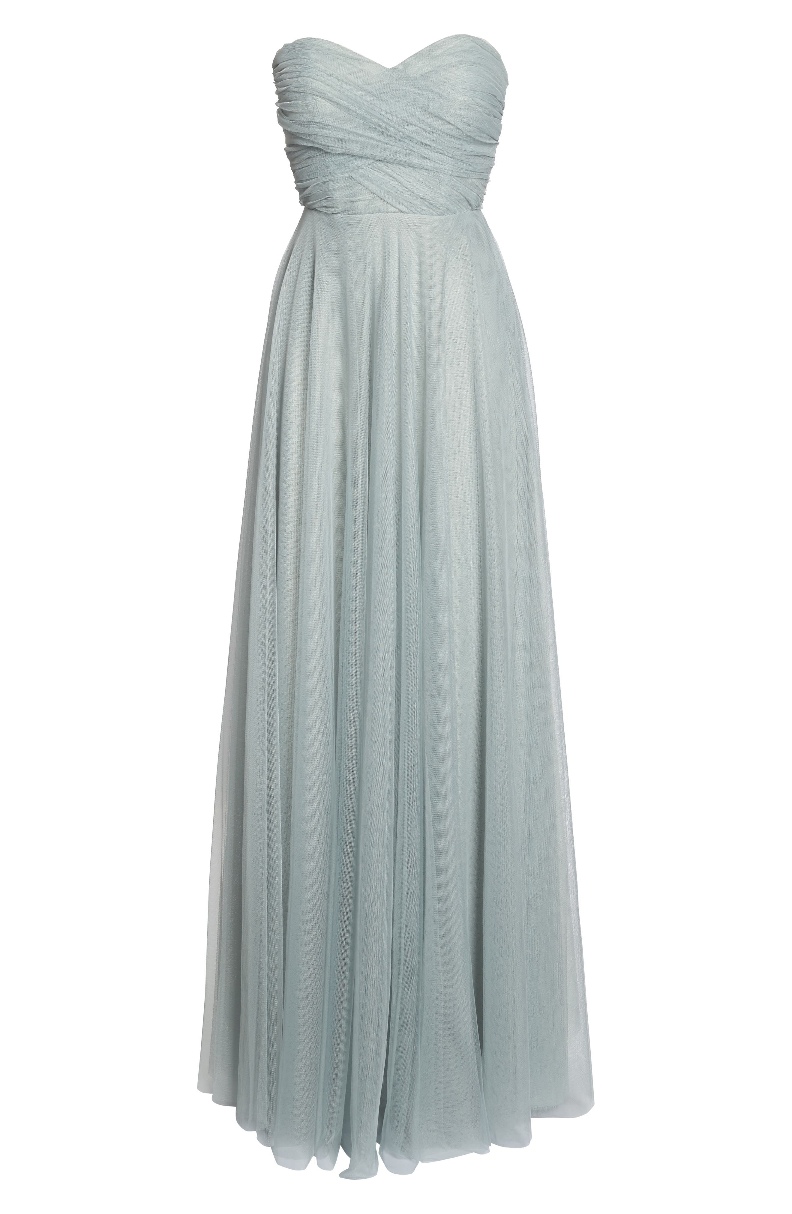 Julia Convertible Soft Tulle Gown,                             Alternate thumbnail 7, color,                             Morning Mist