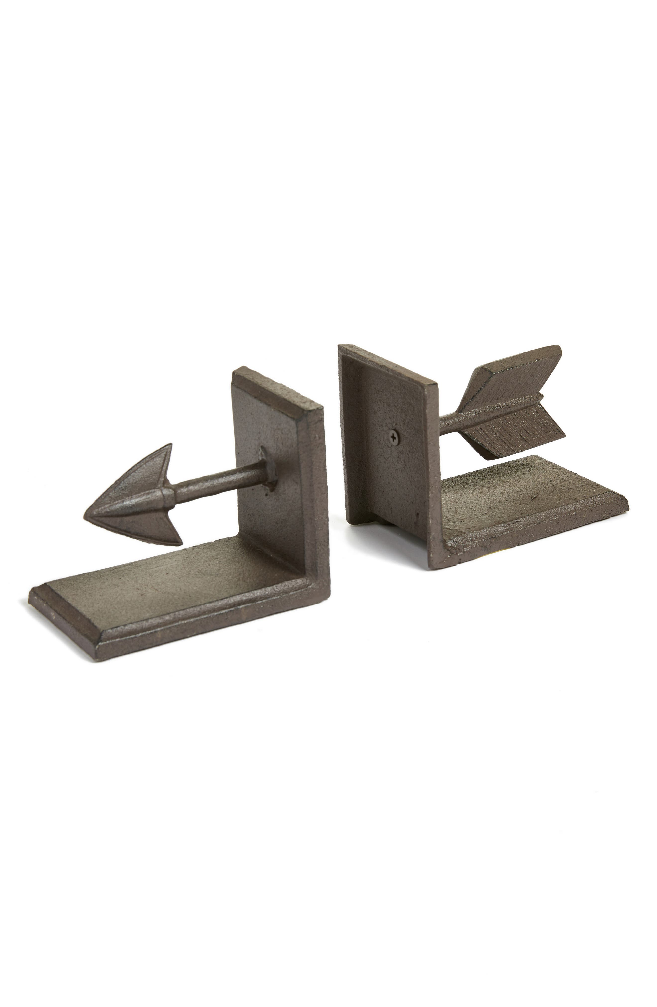 Set of 2 Arrow Bookends,                         Main,                         color, Brown