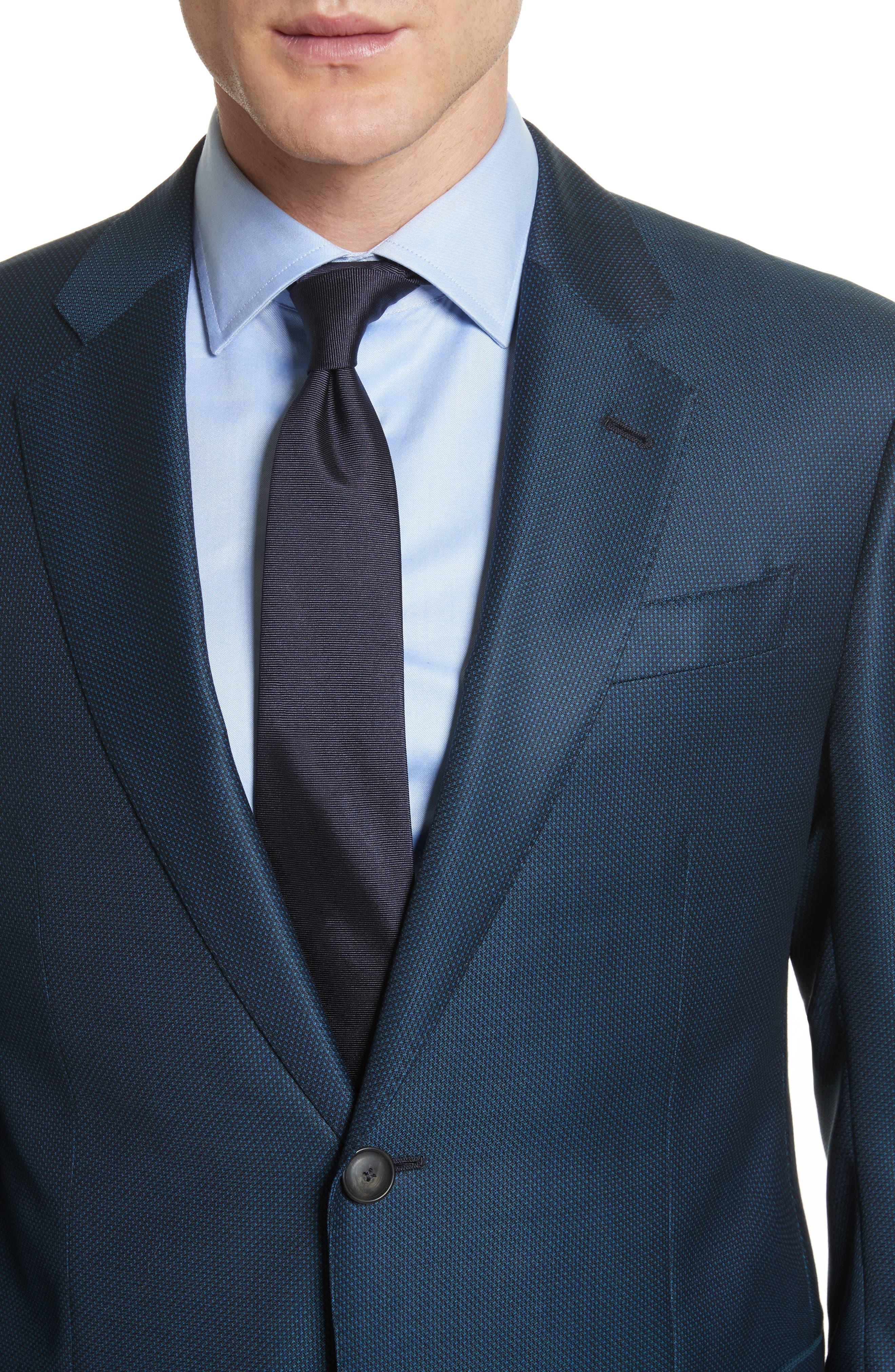G-Line Trim Fit Solid Wool Suit,                             Alternate thumbnail 4, color,                             Blue