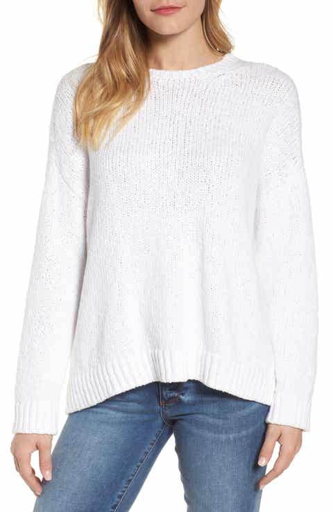 White Cotton Knit Sweater Baggage Clothing