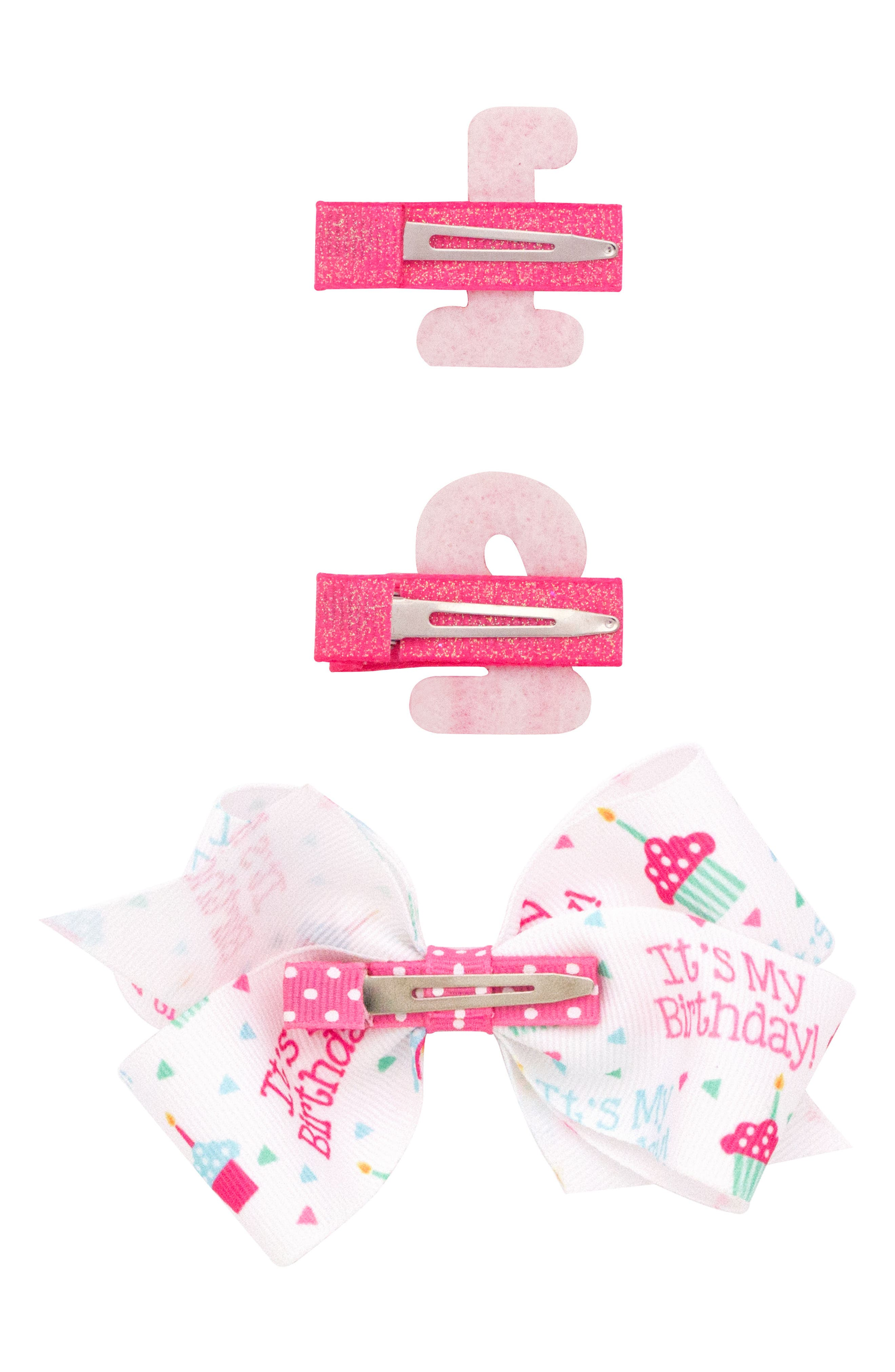 Alternate Image 2  - PLH Bows & Laces 3-Pack Birthday Hair Clips (Baby Girls)