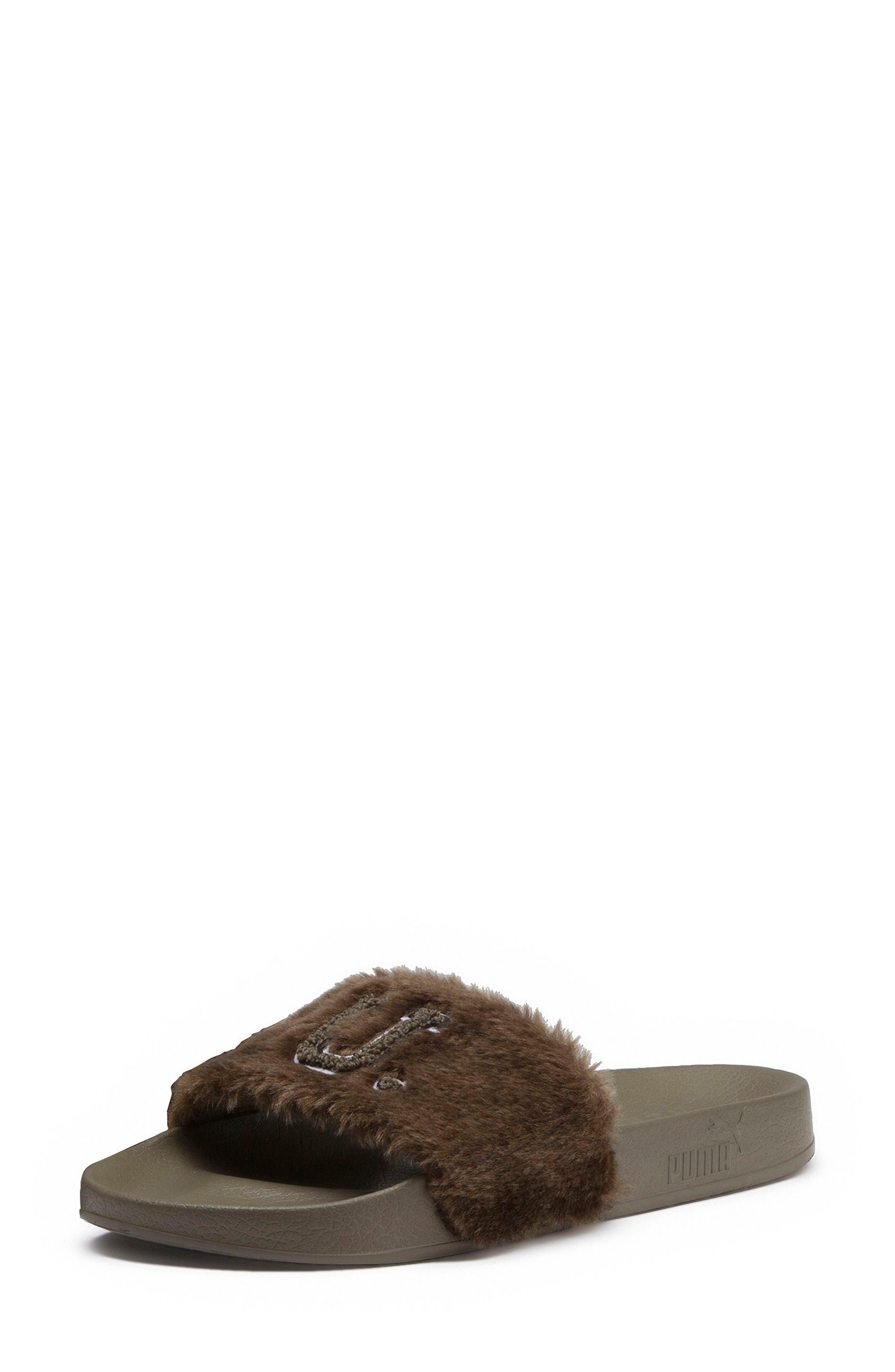FENTY PUMA by Rihanna Lead Cat Slide Sandals,                             Alternate thumbnail 3, color,                             Burnt Olive - Puma Black