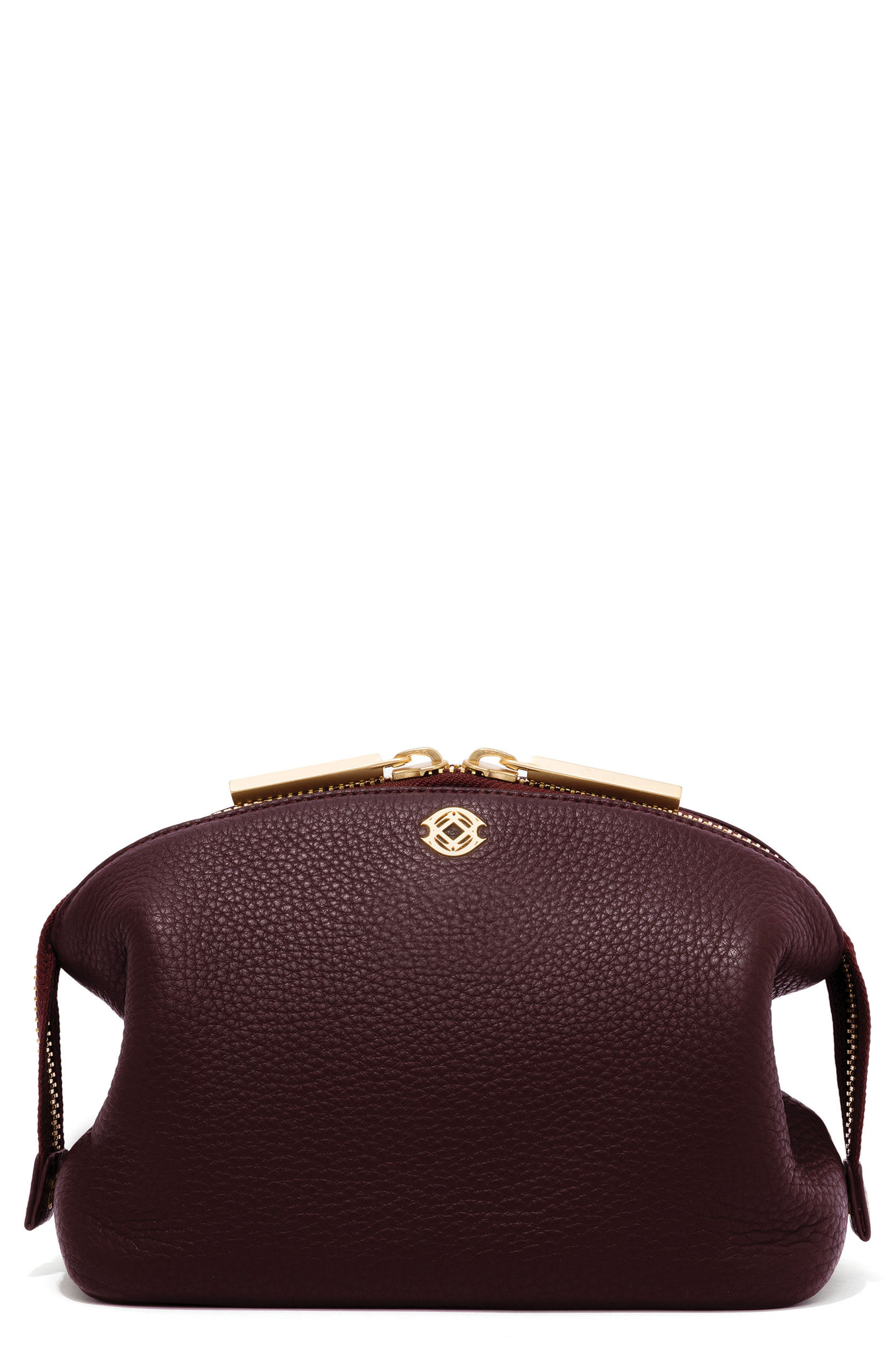 Large Lola Leather Cosmetics Pouch,                         Main,                         color, Oxblood