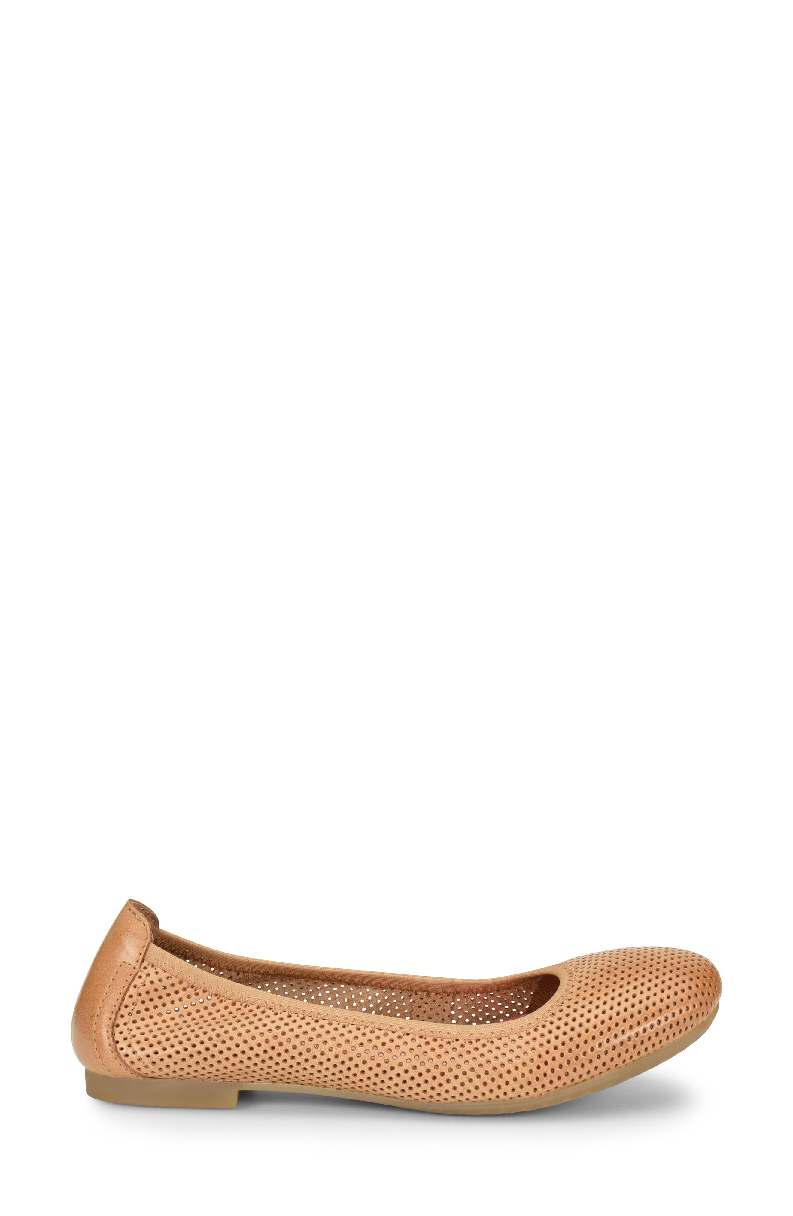 Julianne Perforated Flat,                             Alternate thumbnail 3, color,                             Tan Leather