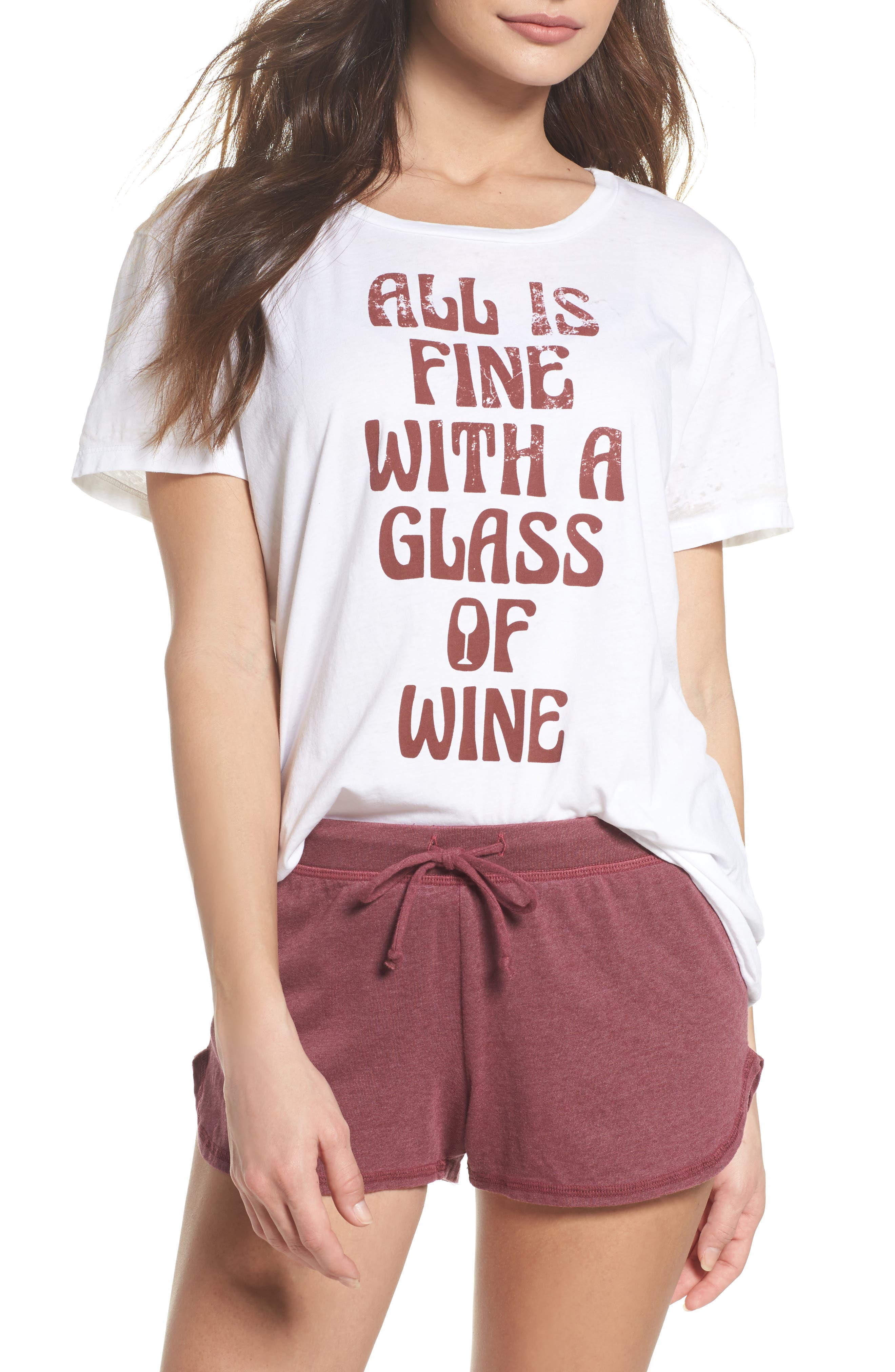 All is Fine Vintage Jersey Tee,                         Main,                         color, White