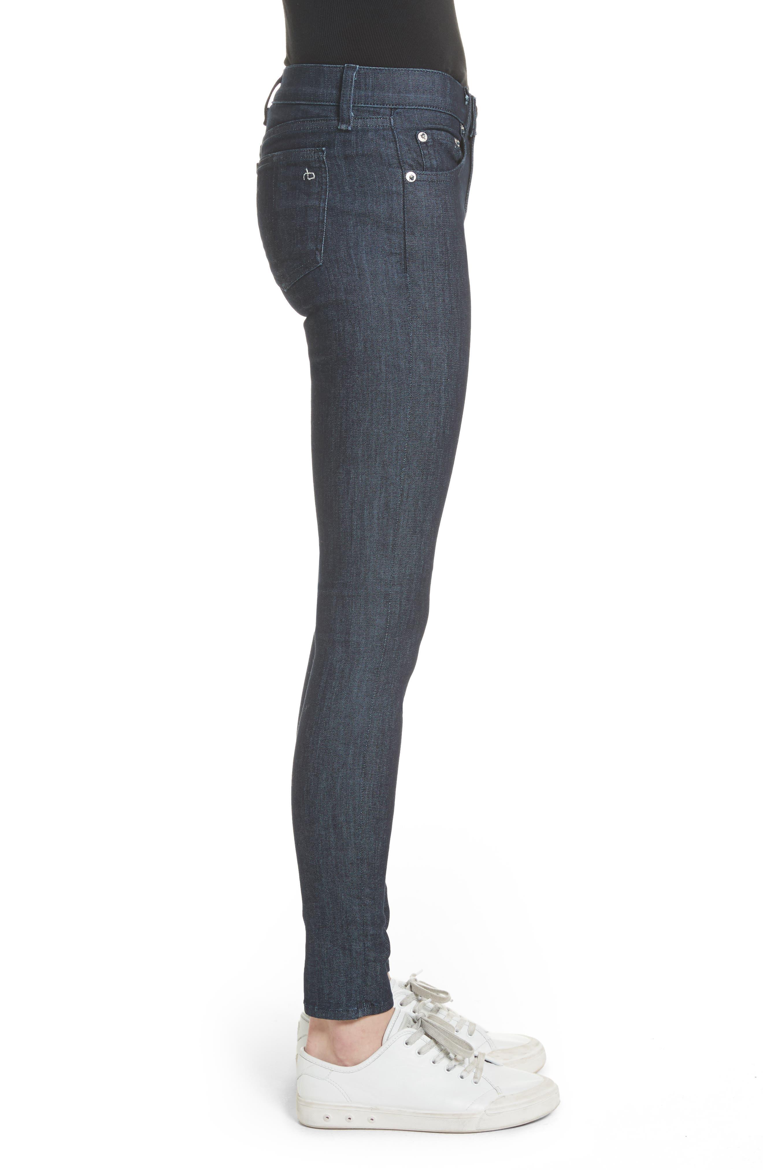 High Waist Skinny Jeans,                             Alternate thumbnail 3, color,                             Indigo