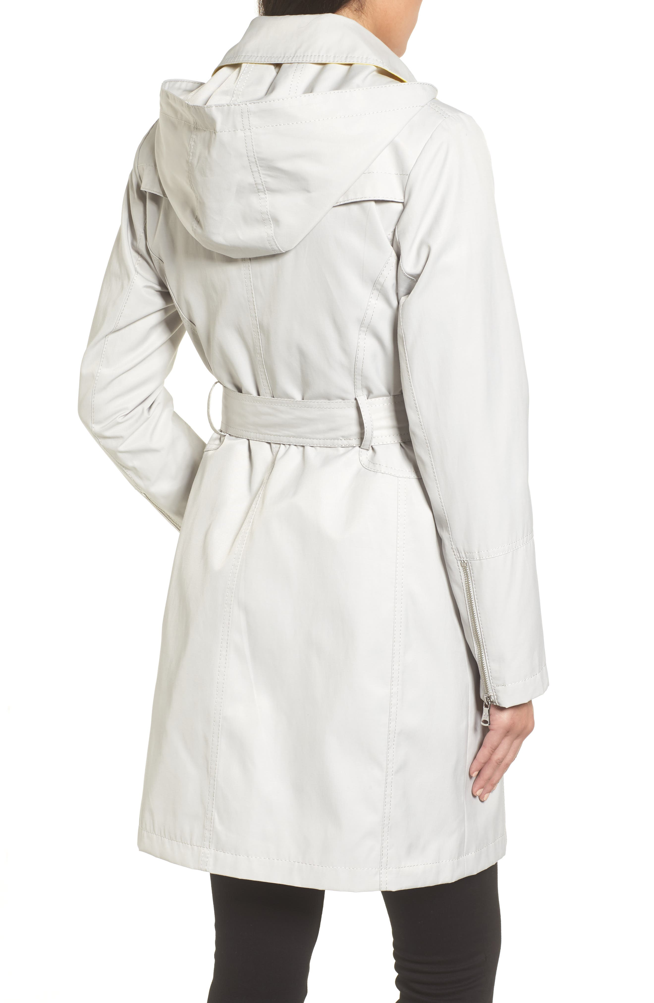 Belted Asymmetrical Trench Coat,                             Alternate thumbnail 2, color,                             Feather