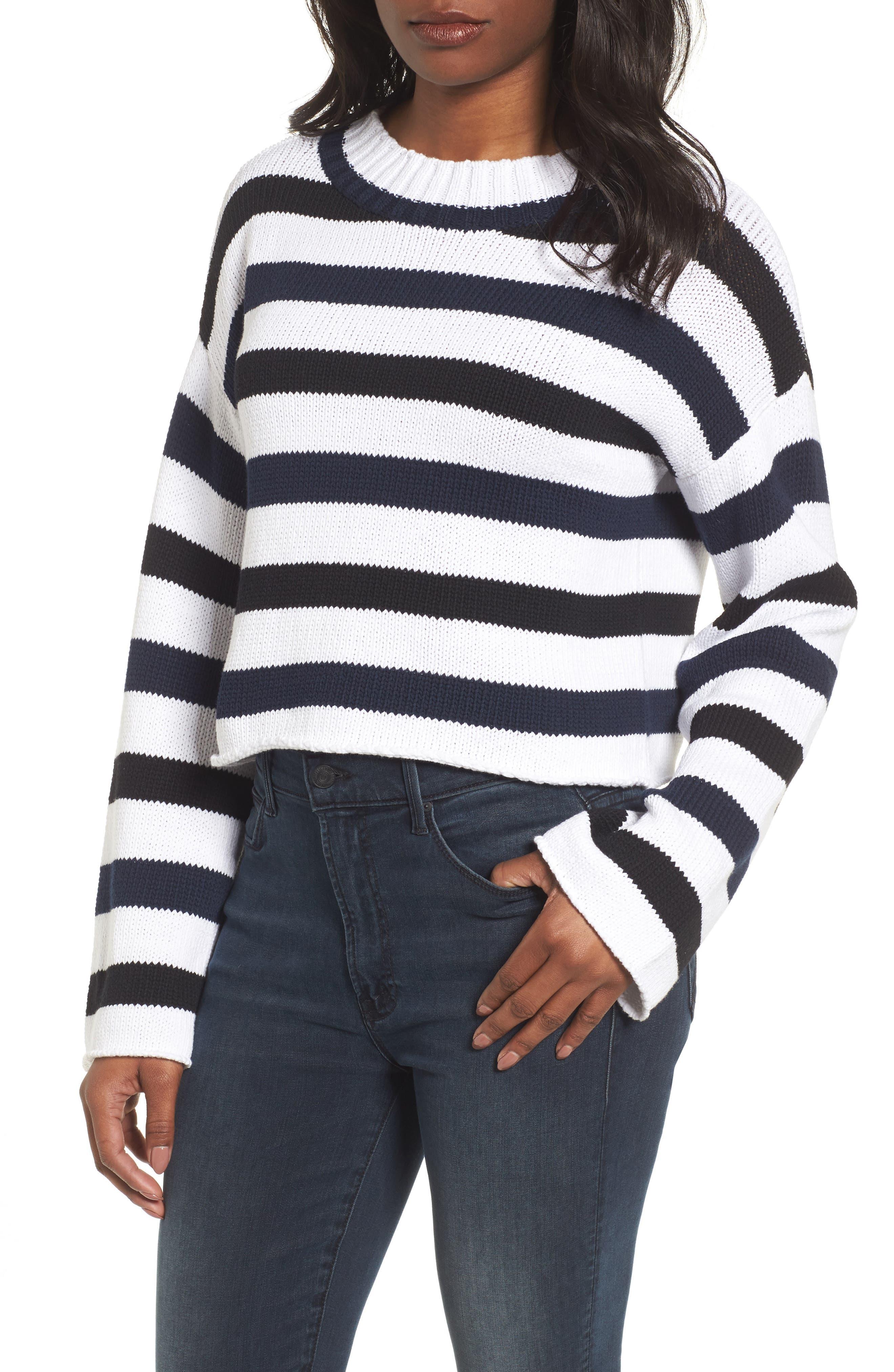 Wide Stripe Crop Sweater,                             Main thumbnail 1, color,                             Indigo-White