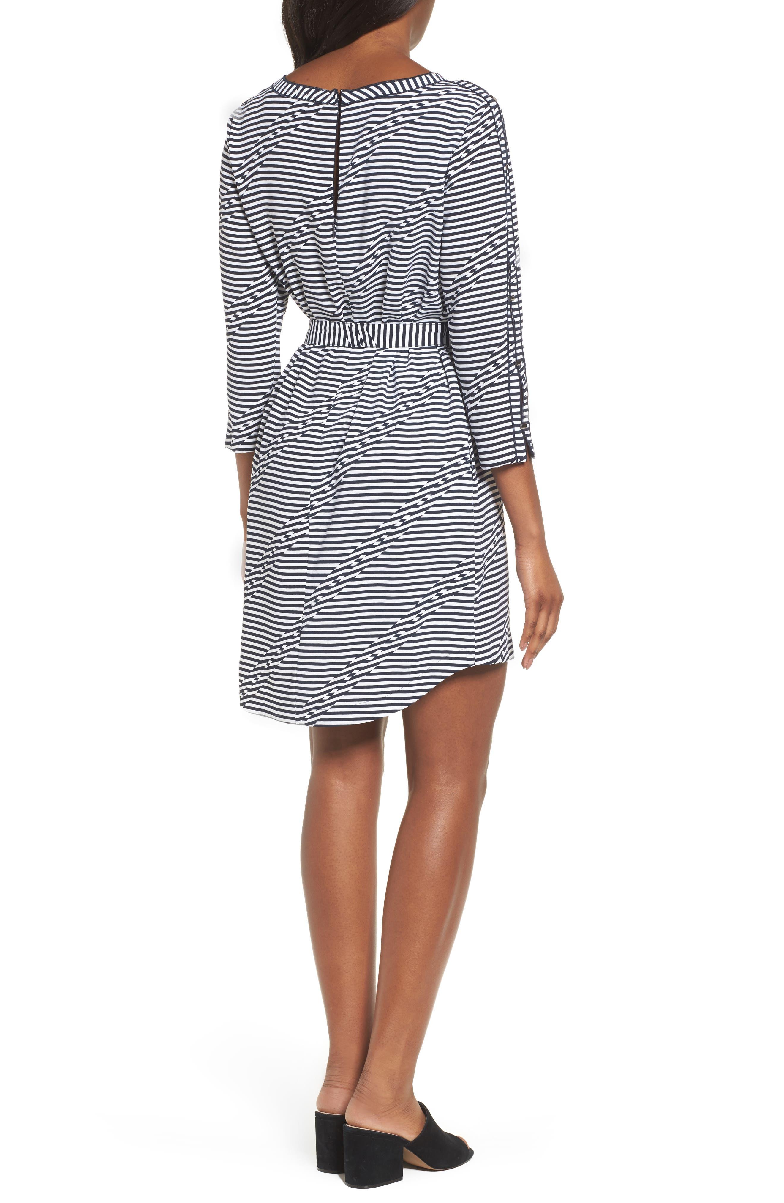 Belted Waist Dress,                             Alternate thumbnail 2, color,                             Offset Stripe Indigo