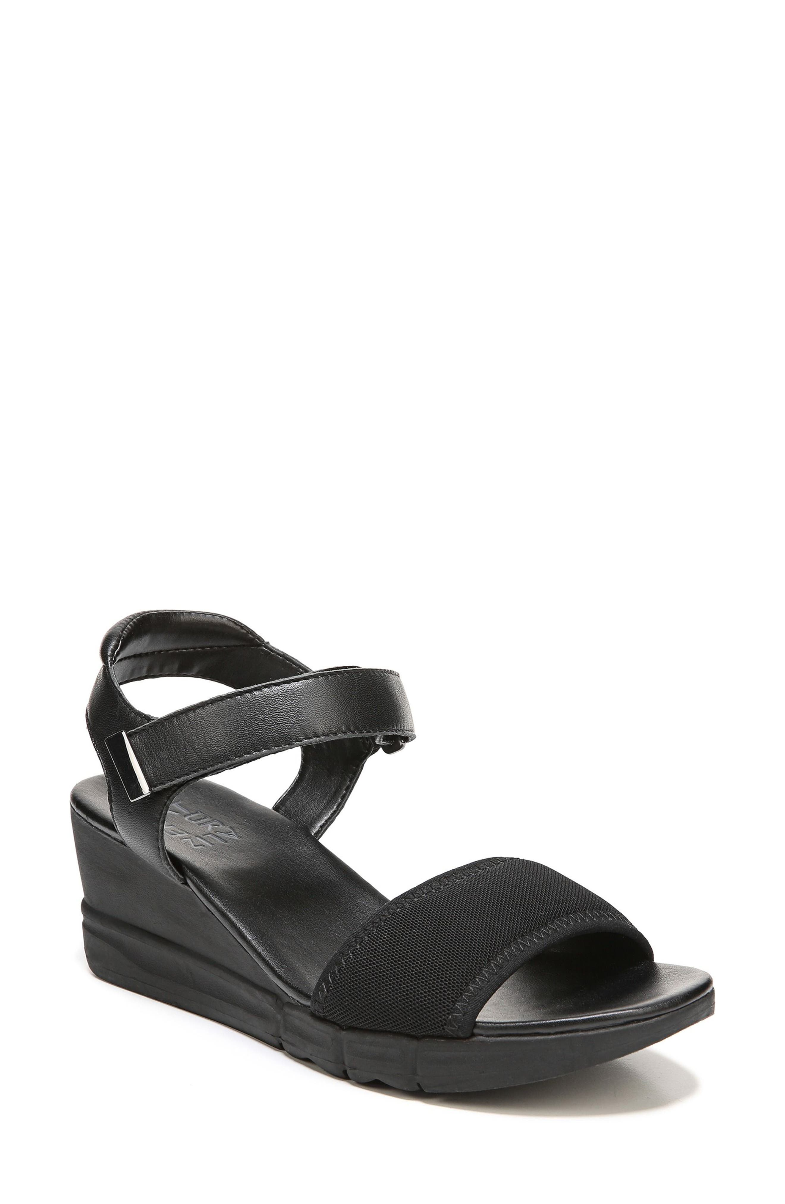 Irena Wedge Sandal,                         Main,                         color, Black Leather