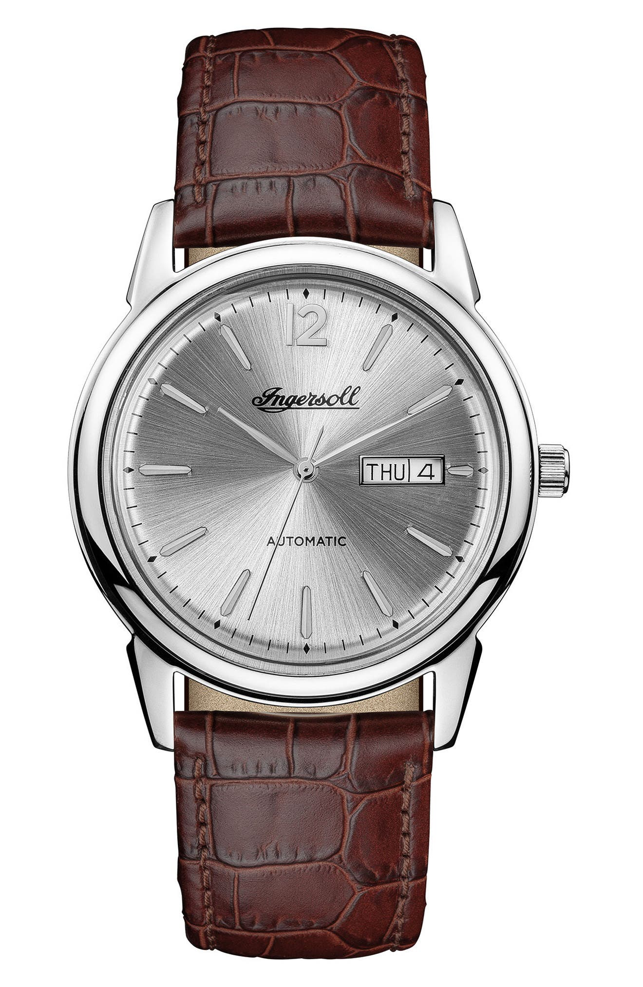 Ingersoll New Haven Automatic Leather Strap Watch, 40mm,                         Main,                         color, Brown/ Silver