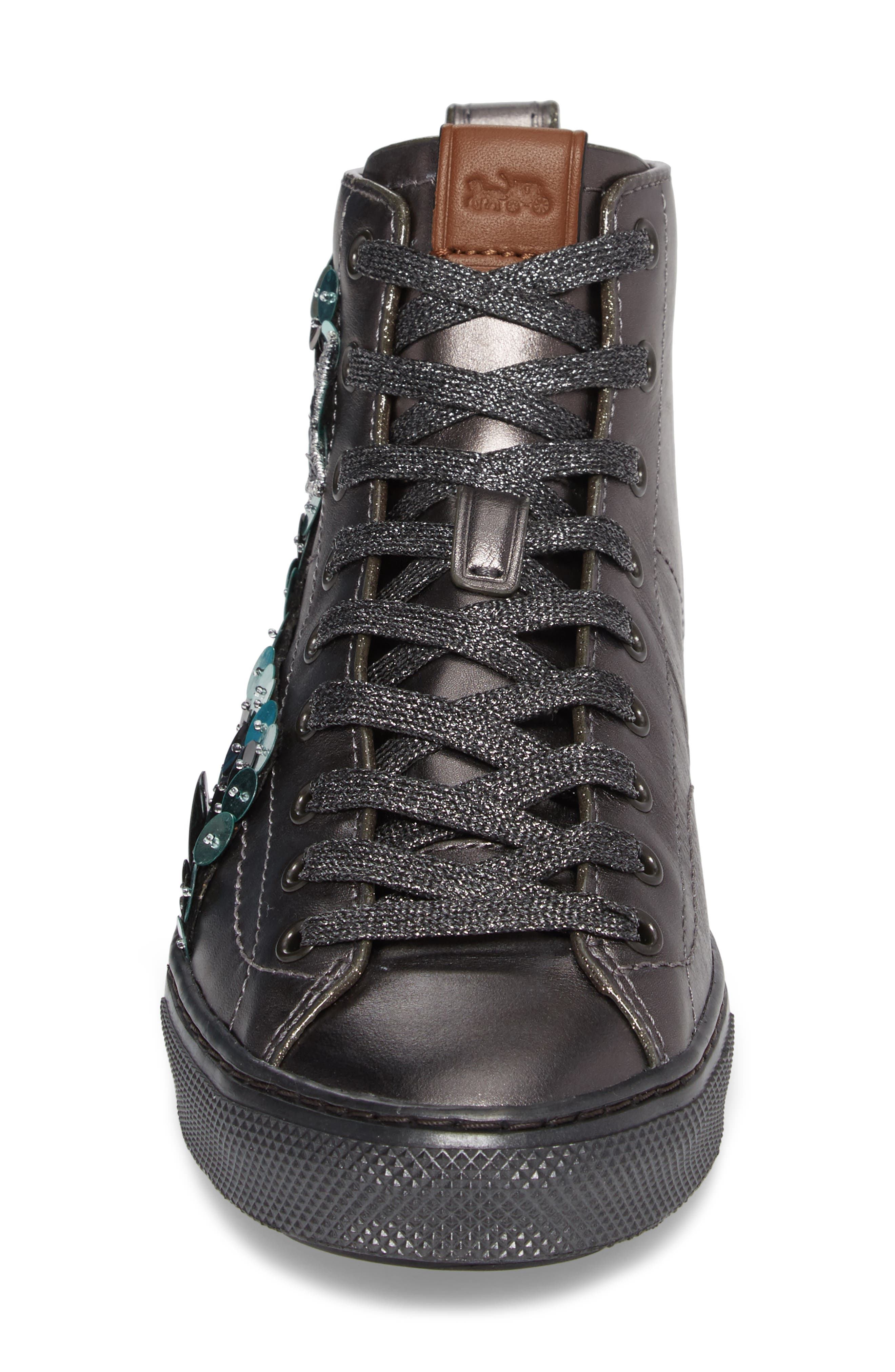 Patch High Top Sneaker,                             Alternate thumbnail 5, color,                             Gunmetal Leather