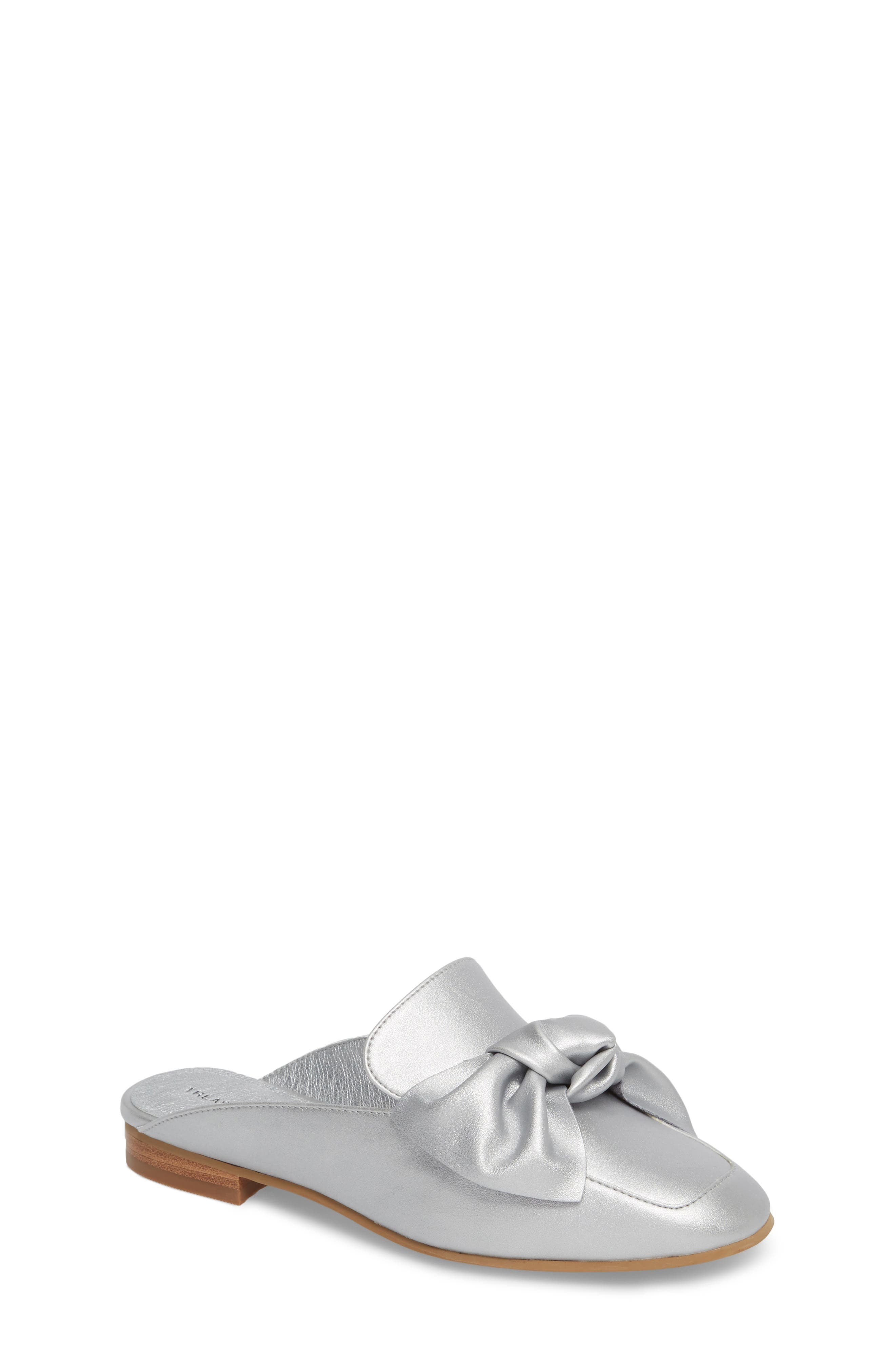Gina Knotted Loafer Mule,                         Main,                         color, Silver Faux Leather