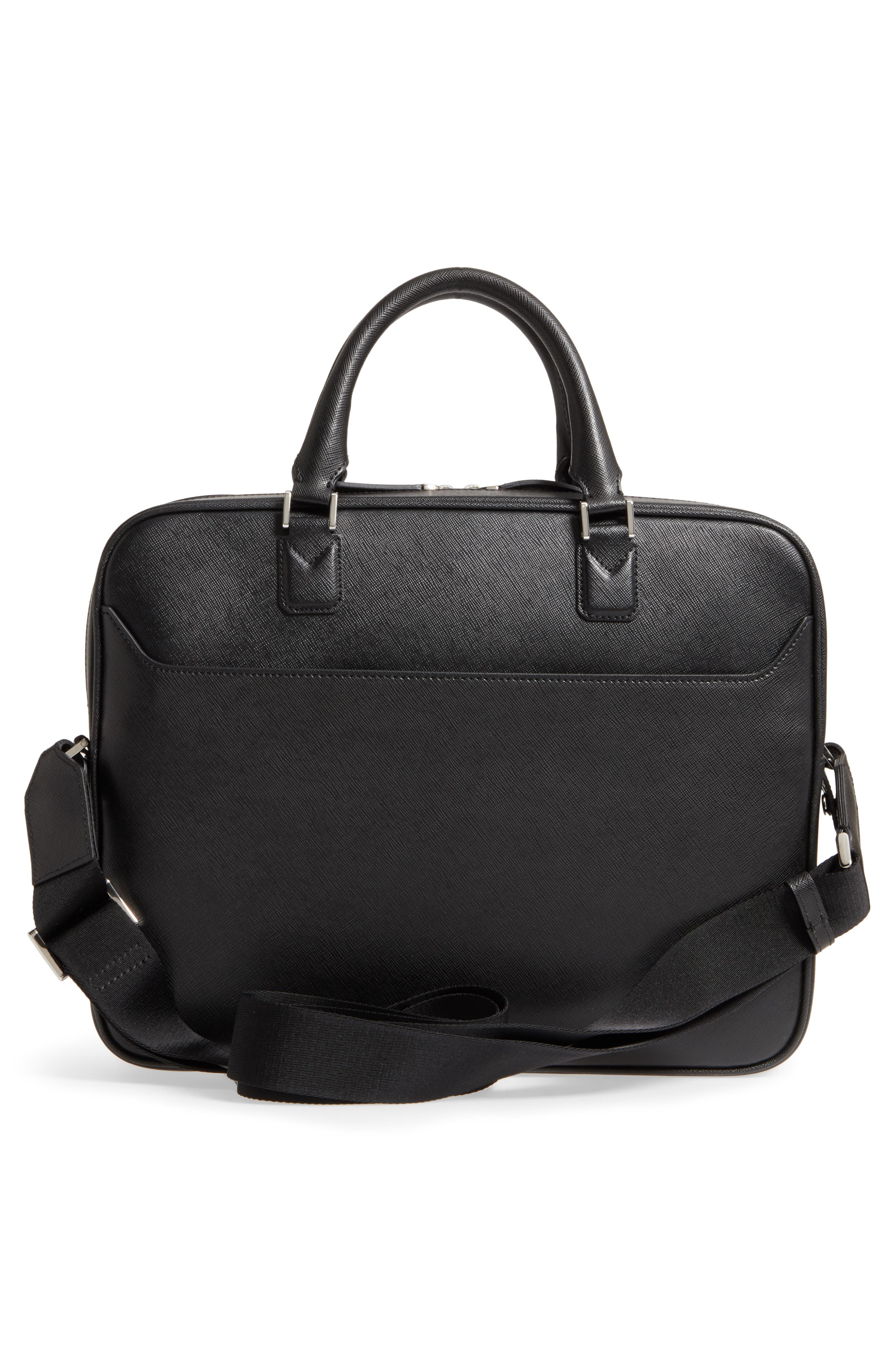 Sartorial Leather Briefcase,                             Alternate thumbnail 3, color,                             Black