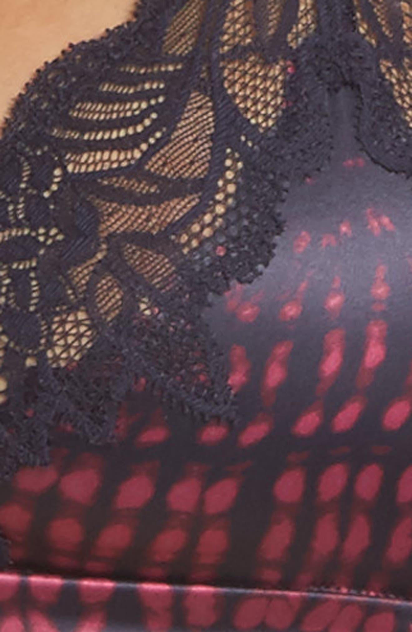Black Enamored Wireless Triangle Bra,                             Alternate thumbnail 8, color,                             Mysterious Skin/ Flux