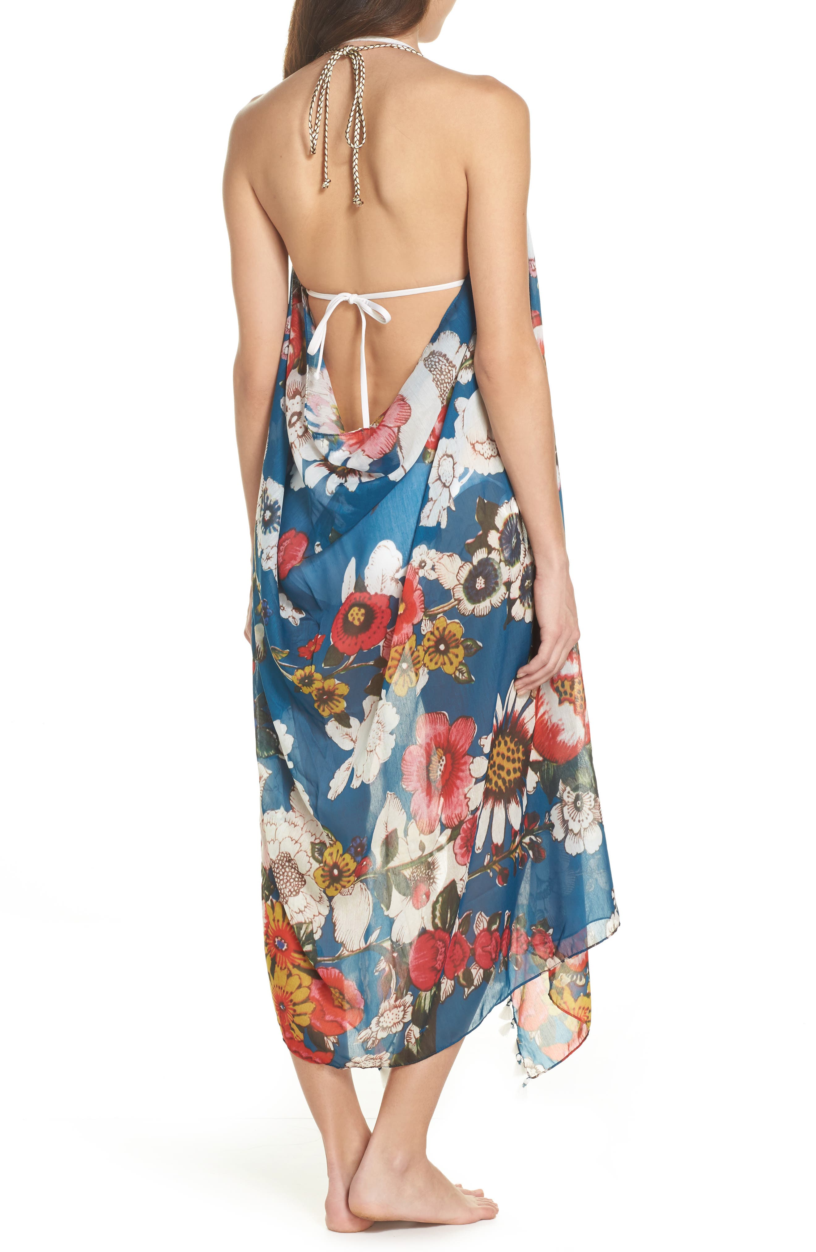 Beach to Street Cover-Up Maxi Dress,                             Alternate thumbnail 2, color,                             Teal Multi