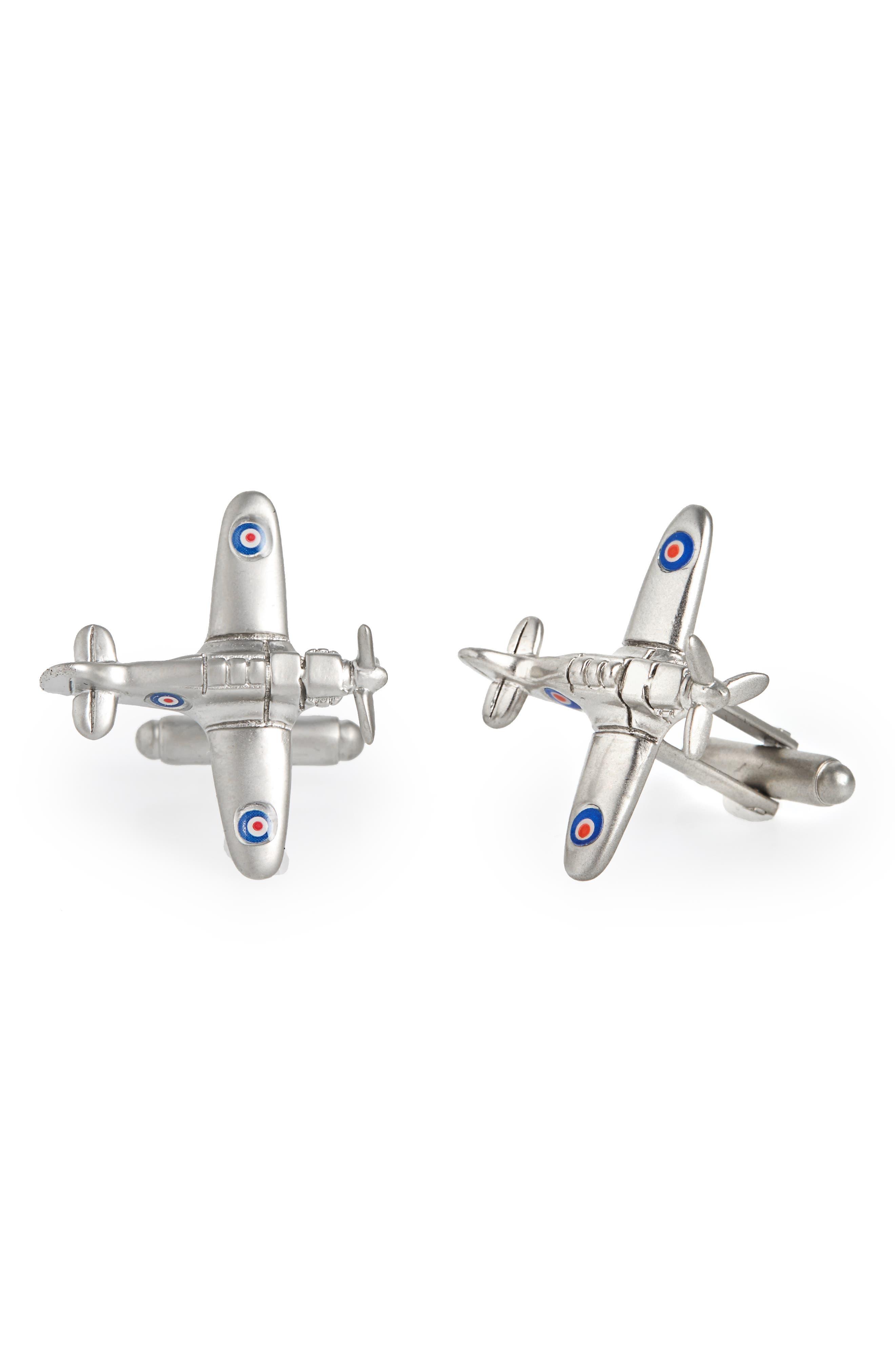 Fighter Plane Cuff Links,                         Main,                         color, Silver