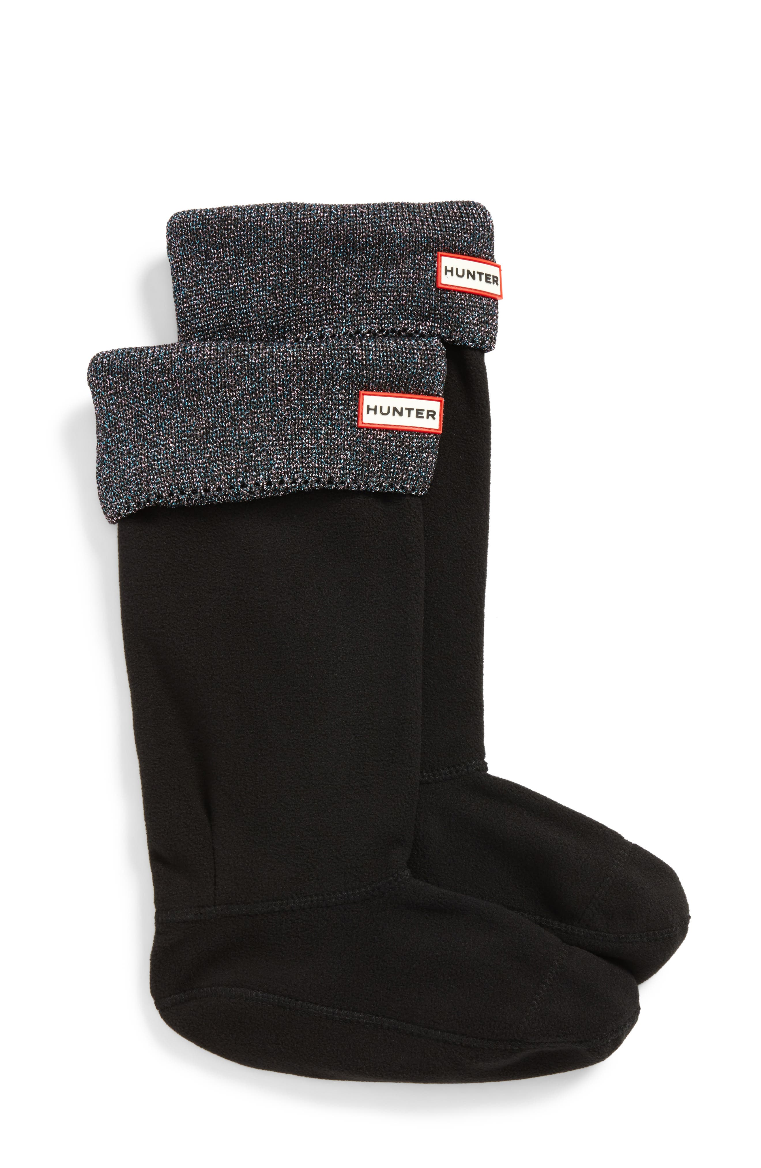 Original Tall Glitter Cuff Welly Boot Socks,                             Main thumbnail 1, color,                             Black Multi