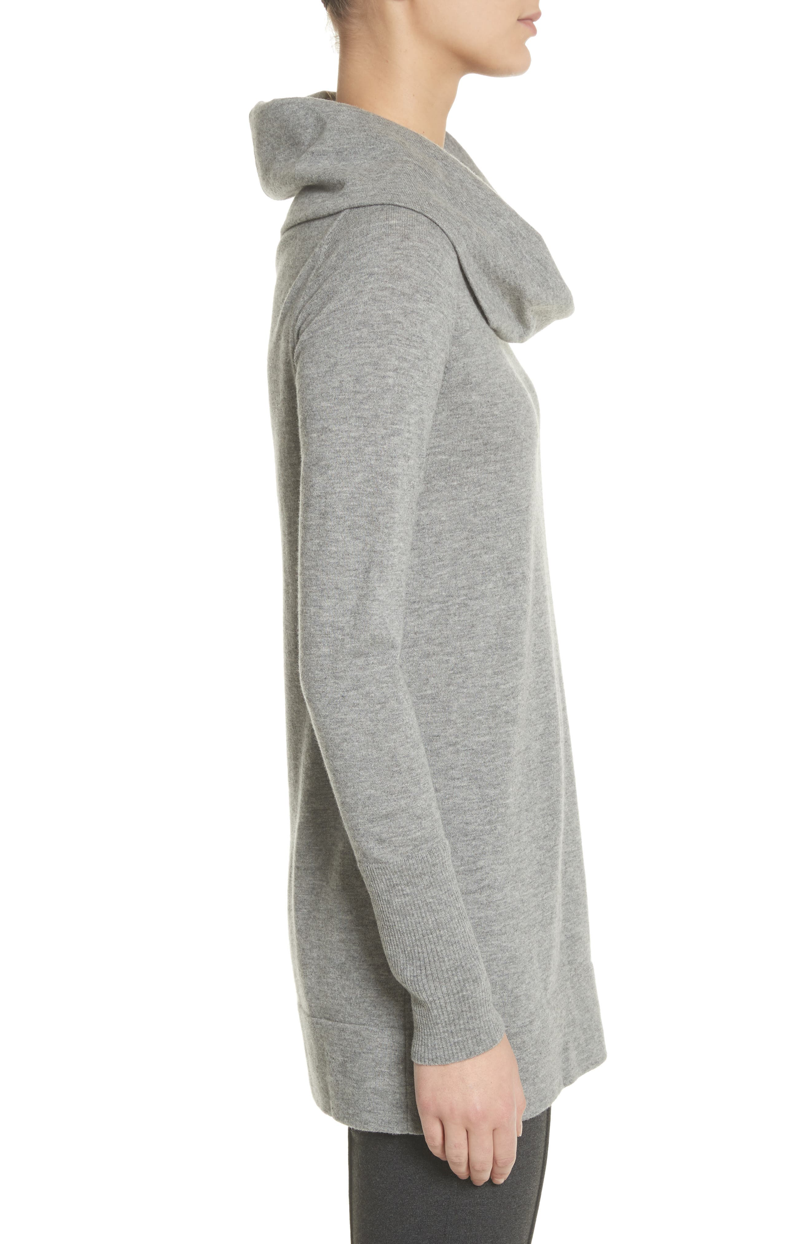 Convertible Off the Shoulder Sweater,                             Alternate thumbnail 3, color,                             Nickel Melange