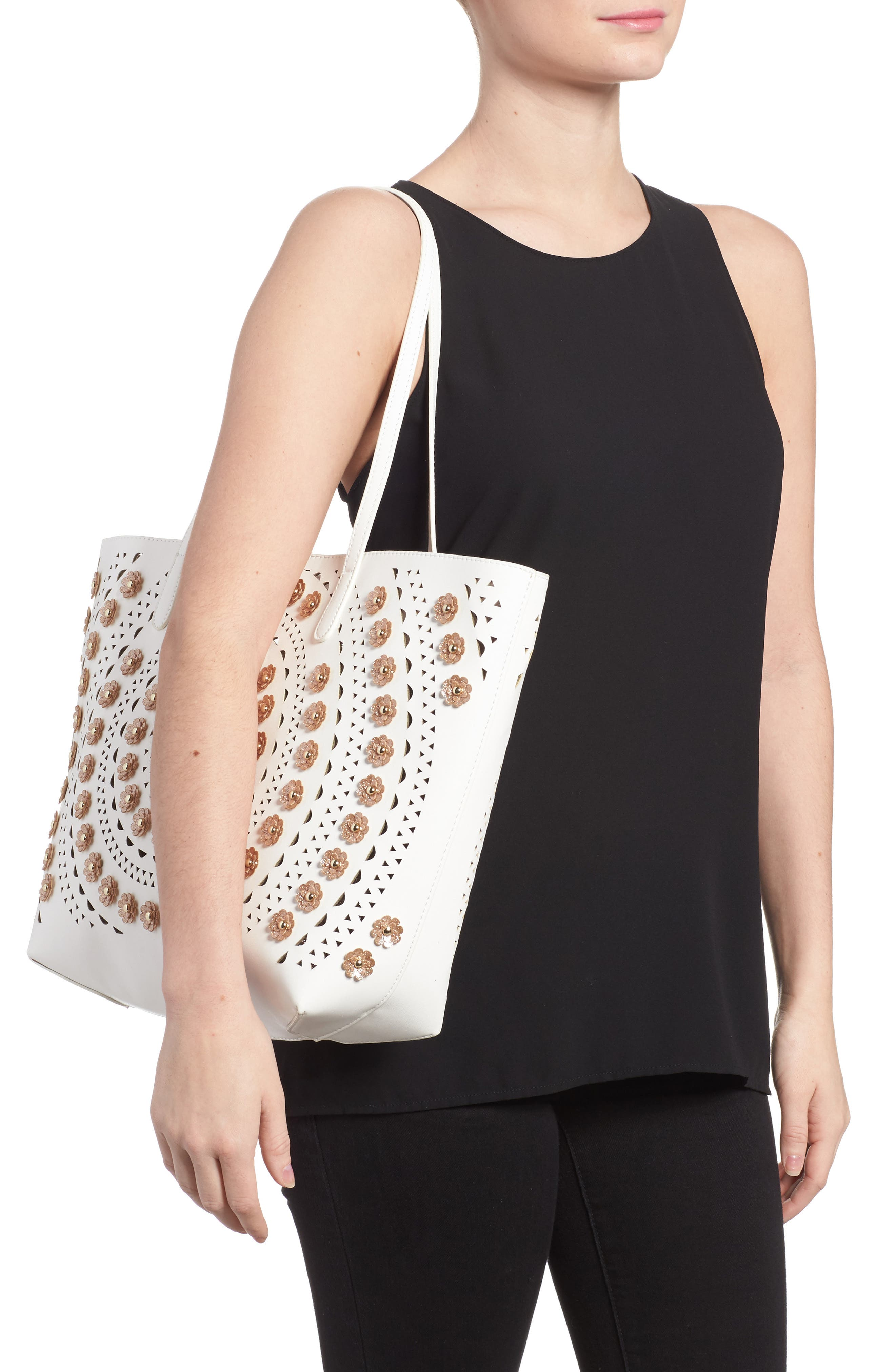 Perforated Glitter Flower Faux Leather Tote,                             Alternate thumbnail 2, color,                             White