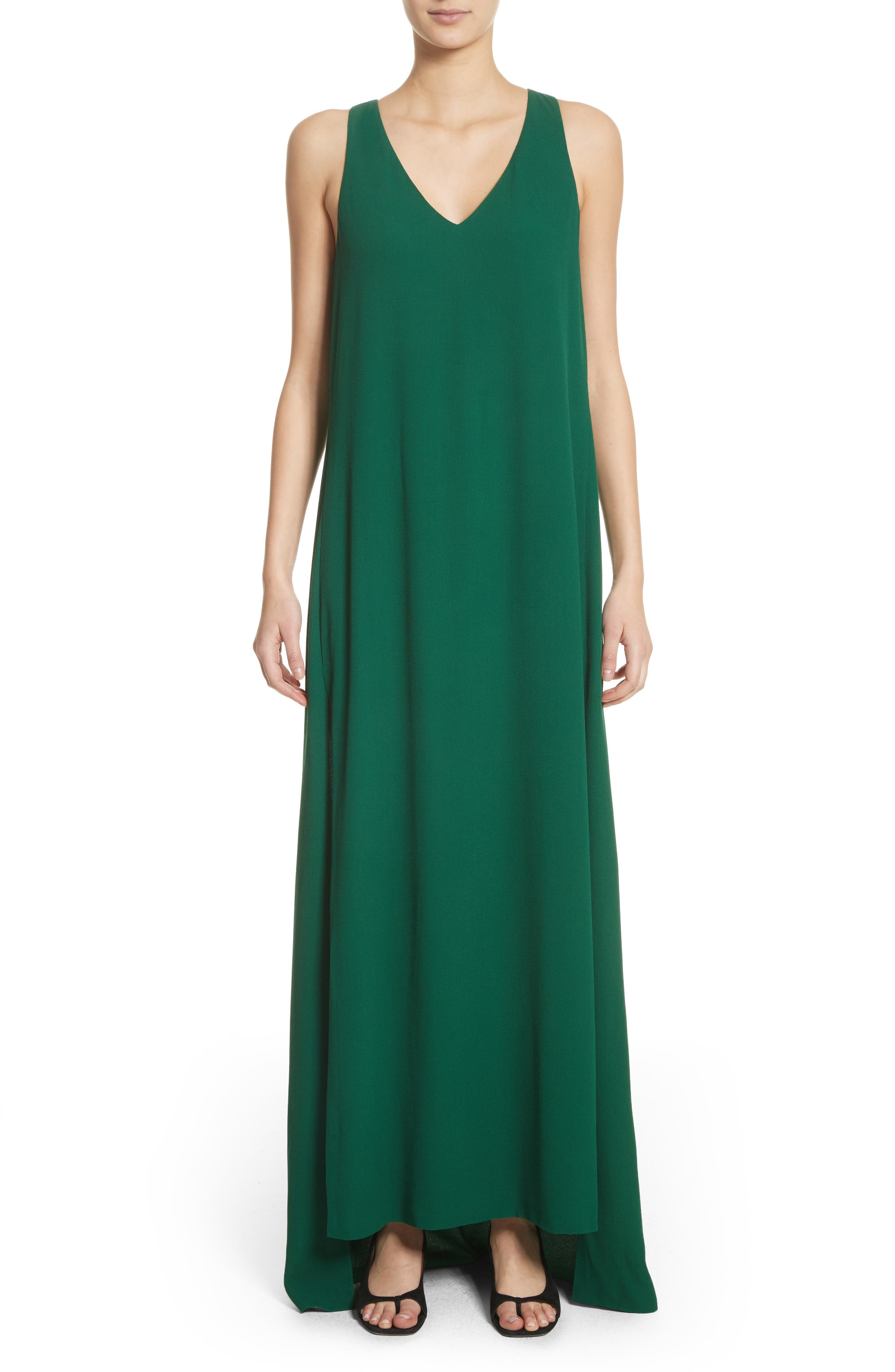 Crepe Cross Back Gown,                             Main thumbnail 1, color,                             Emerald