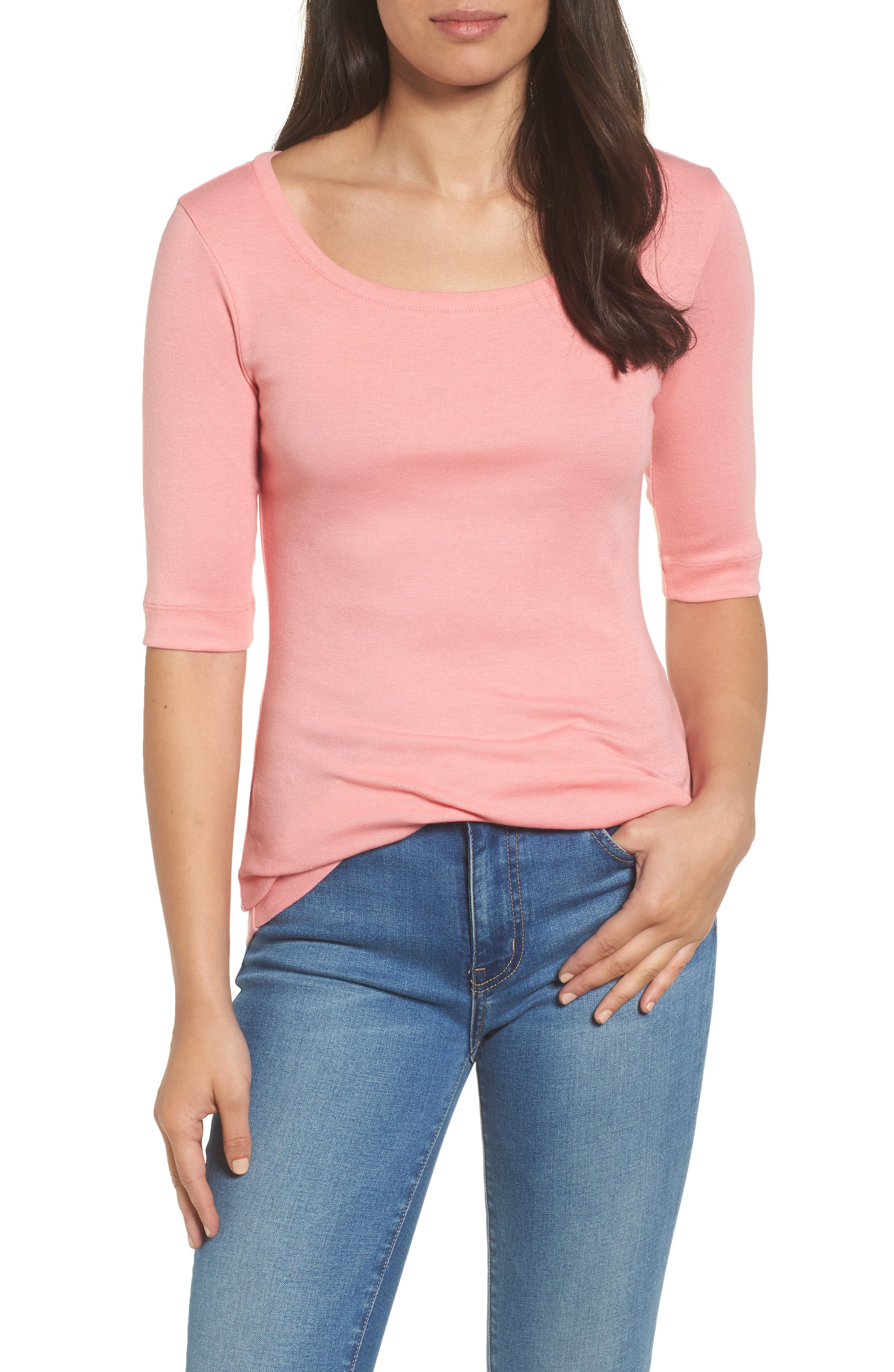 Ballet Neck Cotton & Modal Knit Elbow Sleeve Tee,                         Main,                         color, Pink Berry Ice
