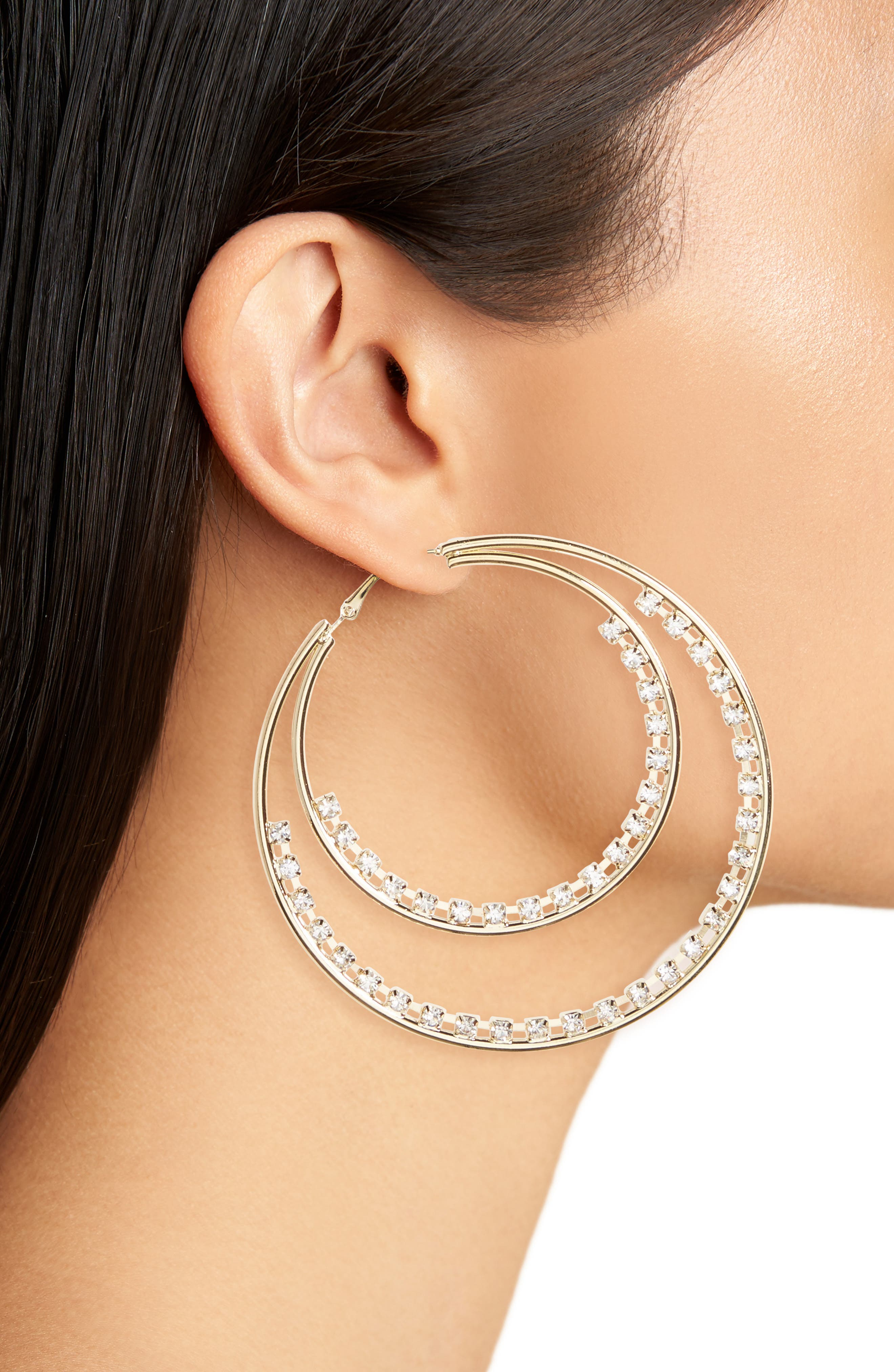Row Crystal Double Hoop Earrings,                             Alternate thumbnail 2, color,                             Gold/ Crystal