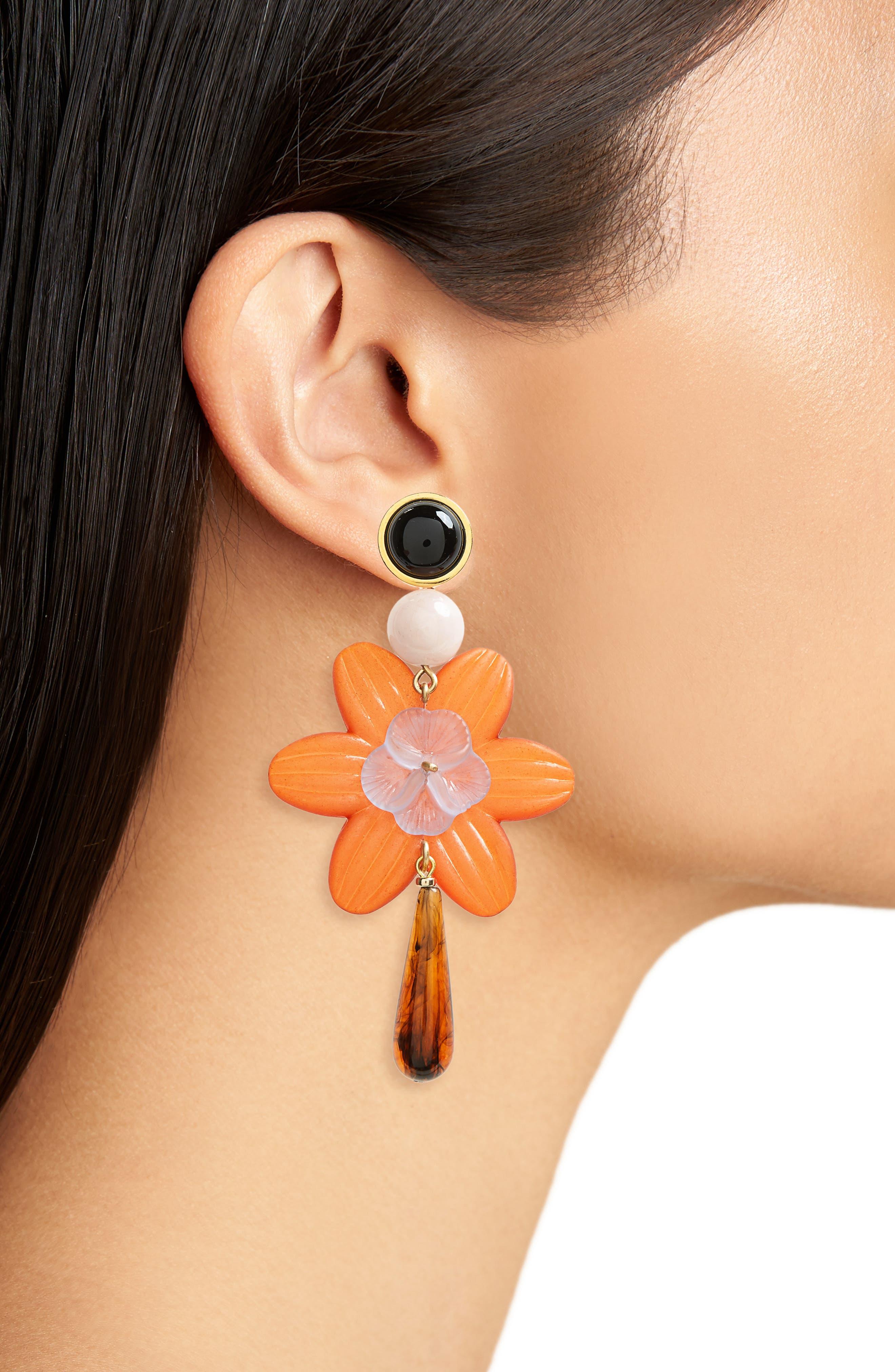 Sal Flower Drop Earrings,                             Alternate thumbnail 2, color,                             Red Multi