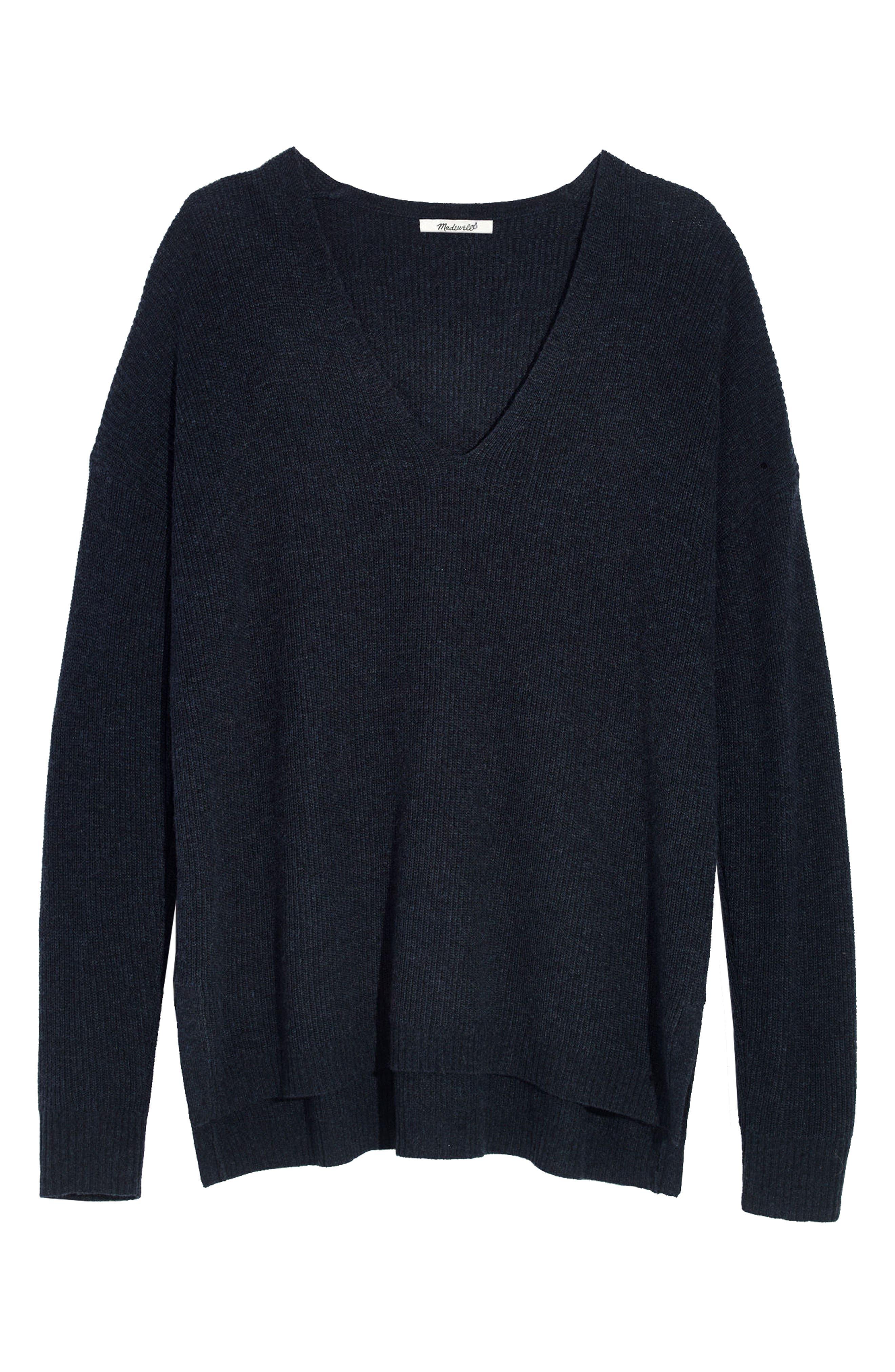 Warmlight V-Neck Sweater,                         Main,                         color, Heather Navy
