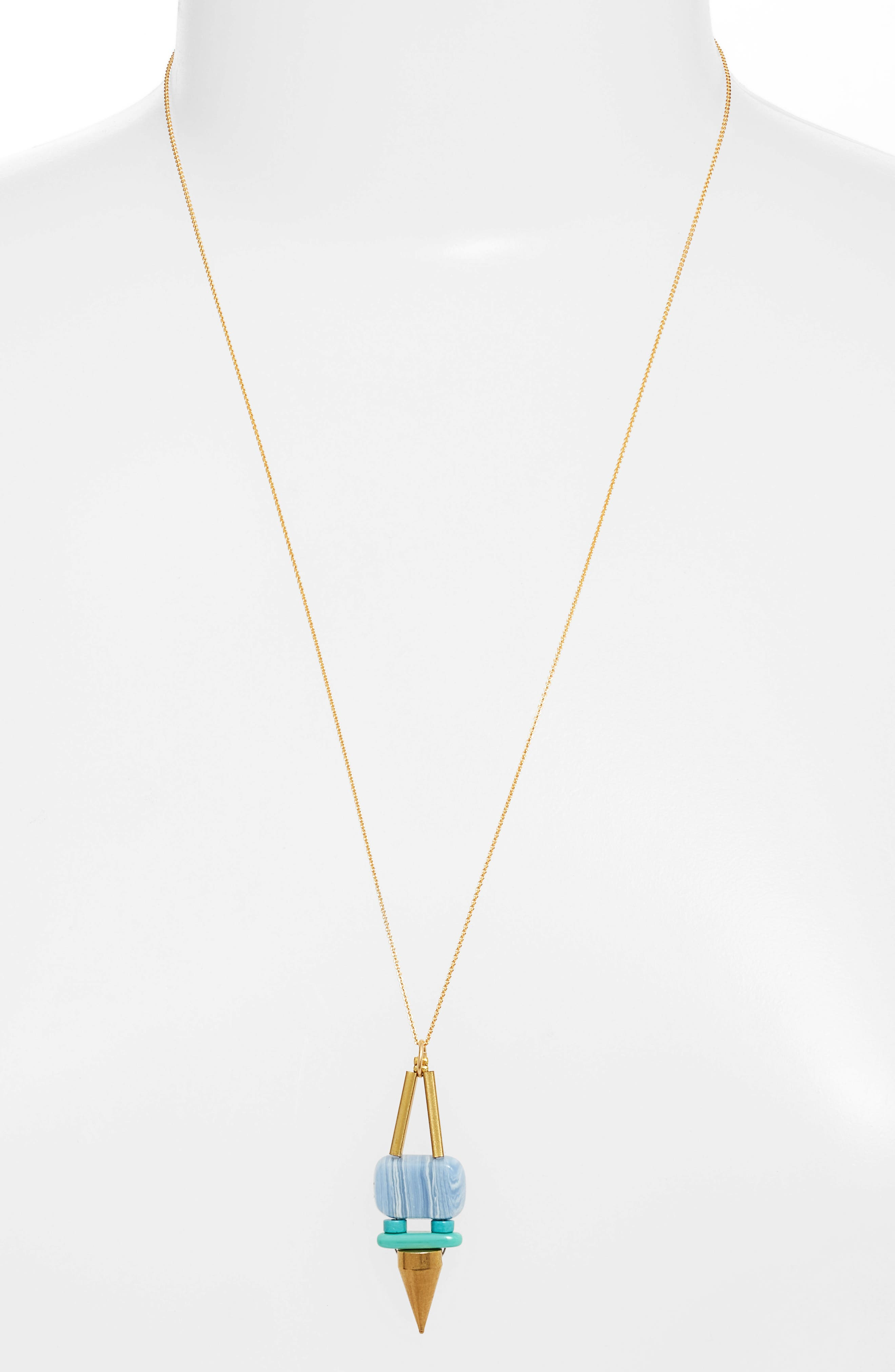 Rylee Spike Pendant Necklace,                         Main,                         color, Blue/ Gold
