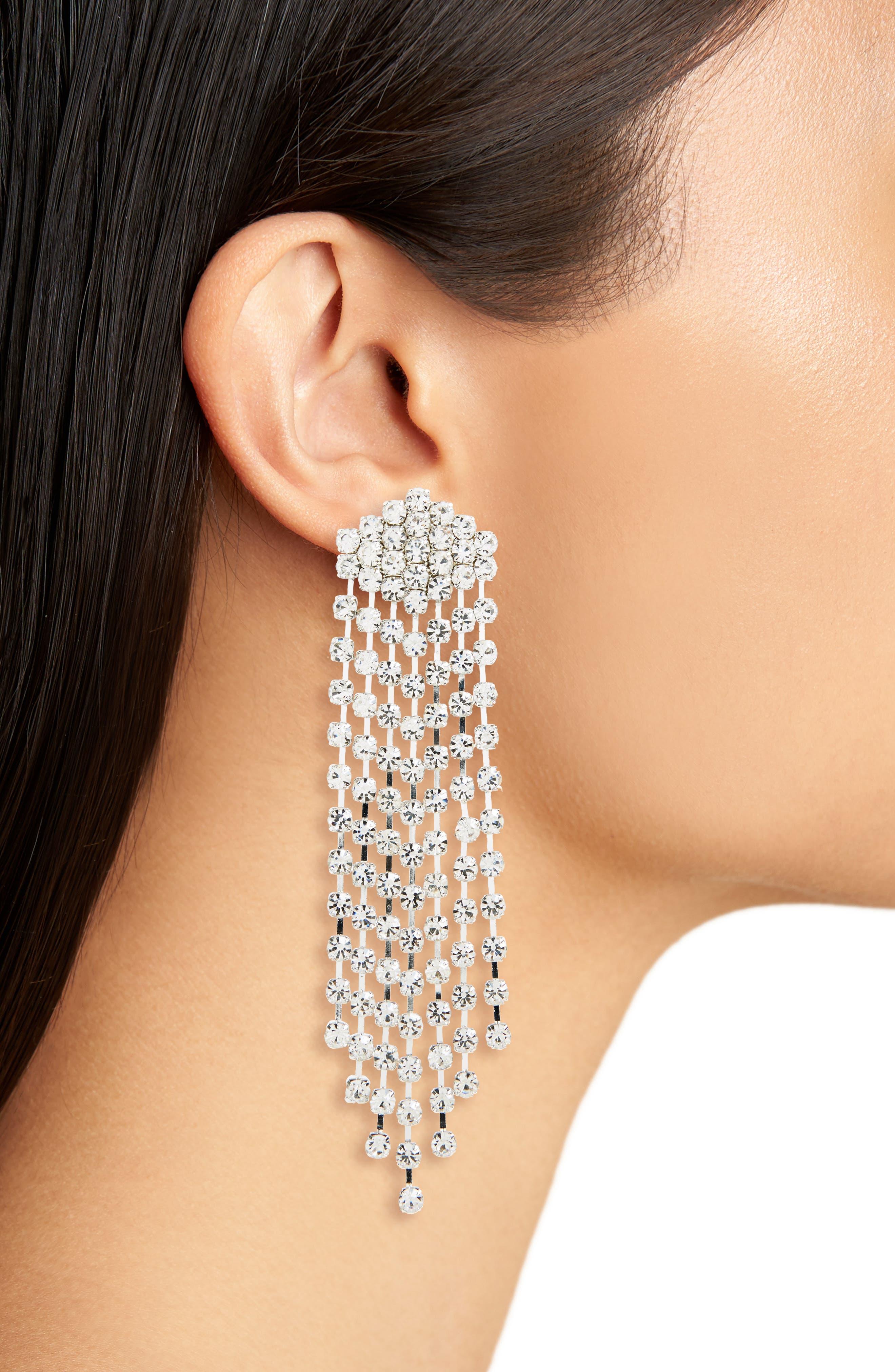 Crystal Chandelier Earrings,                             Alternate thumbnail 2, color,                             Silver/ Crystal