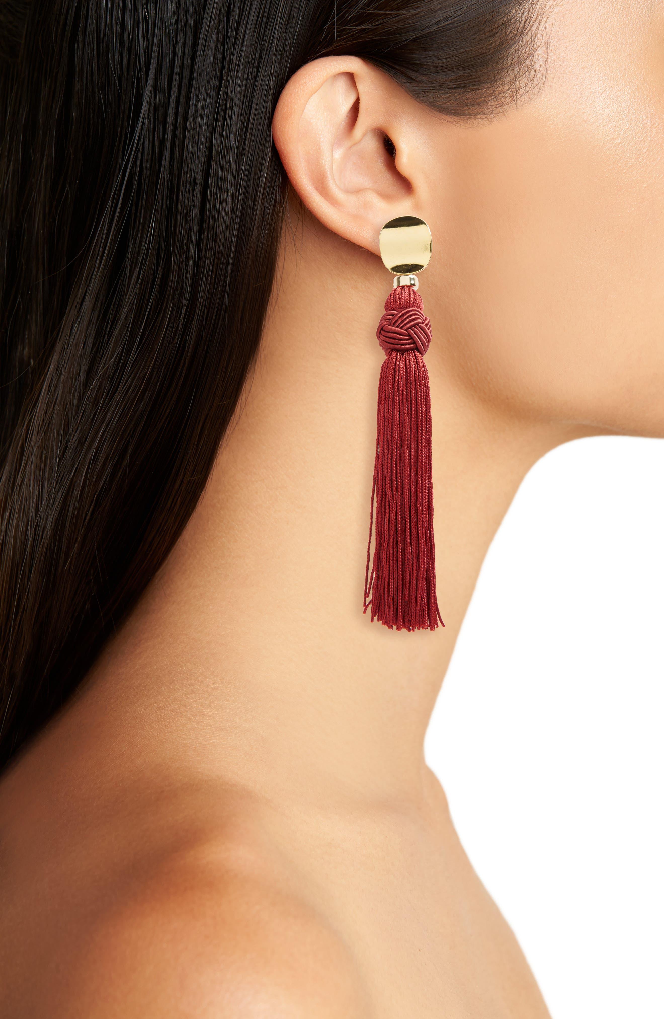 Sienna Luxe Tassel Drop Earrings,                             Alternate thumbnail 2, color,                             Burgundy