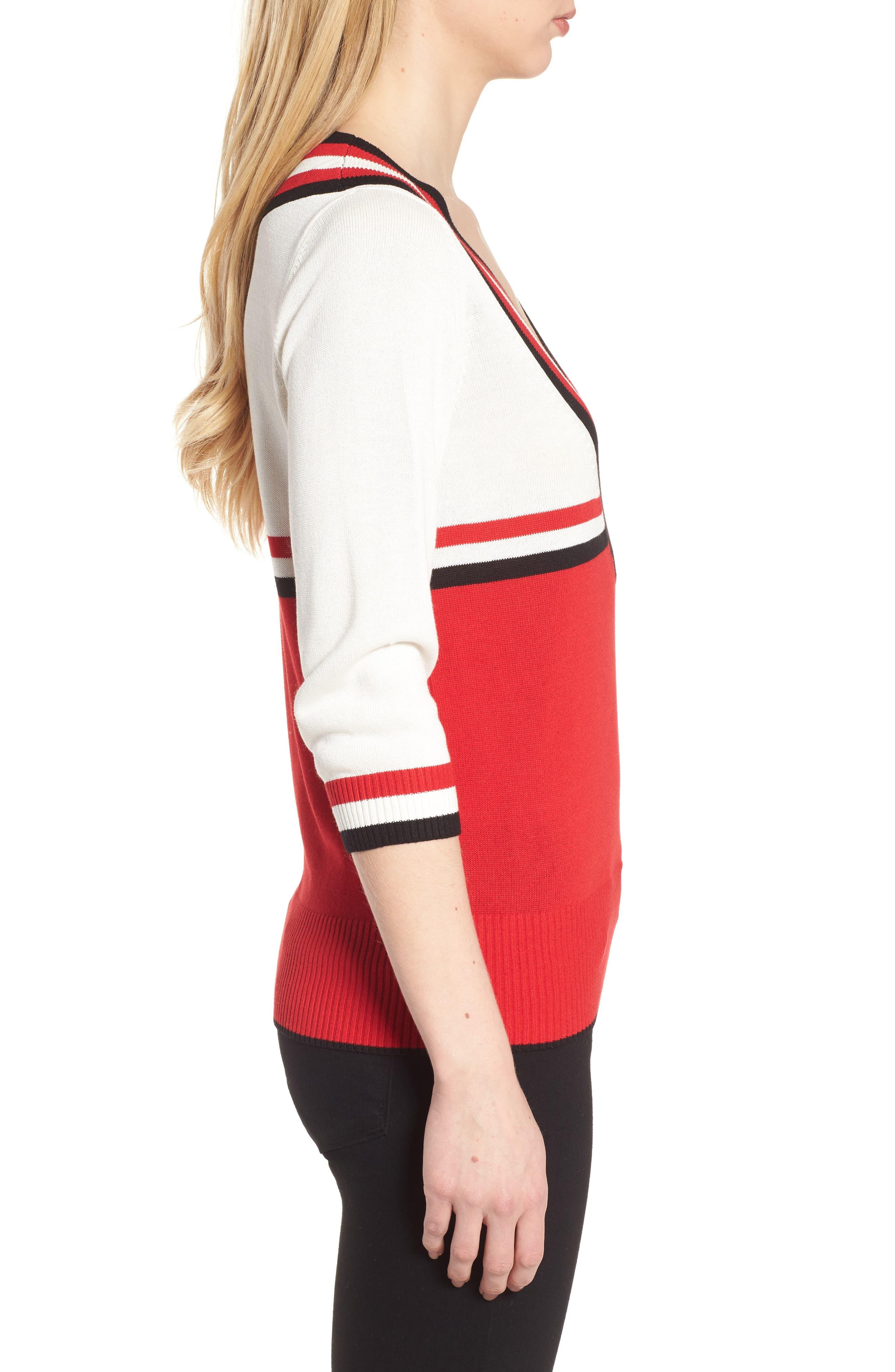 Stripe Sweater,                             Alternate thumbnail 3, color,                             Red/ Black/ White