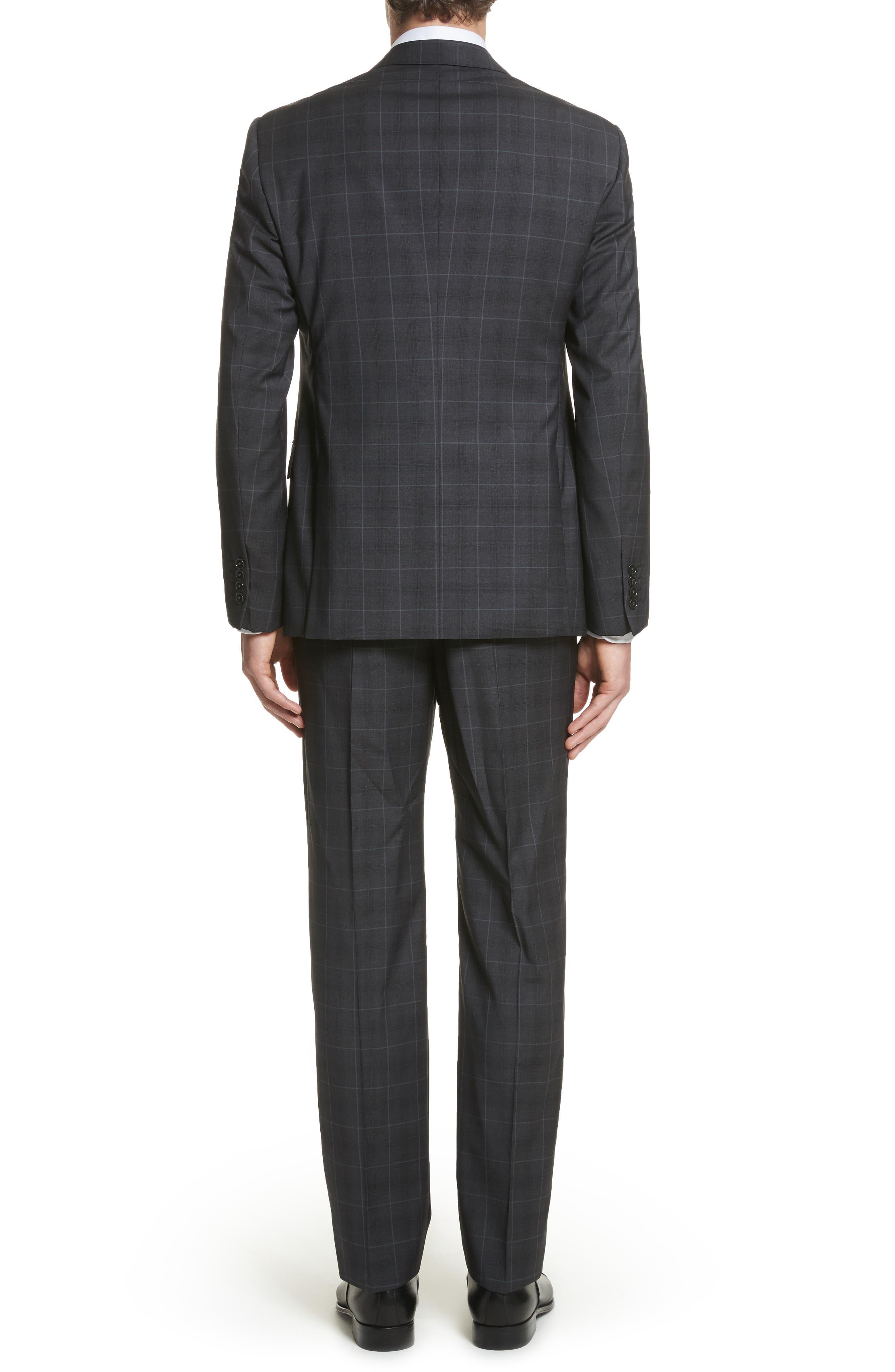 M-Line Trim Fit Plaid Wool Suit,                             Alternate thumbnail 2, color,                             Grey