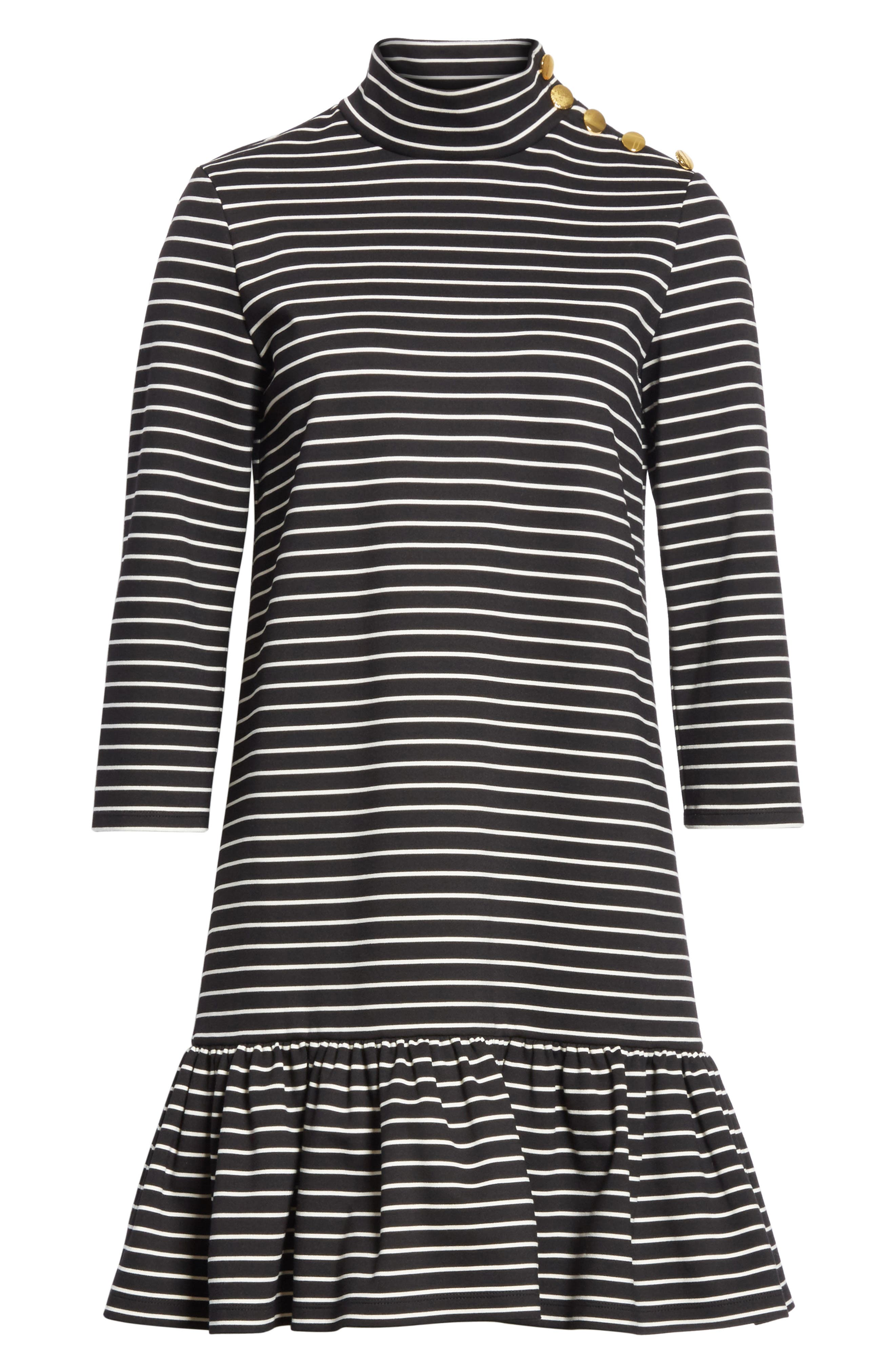 mock neck stripe knit dress,                             Alternate thumbnail 6, color,                             Black/ Off-White