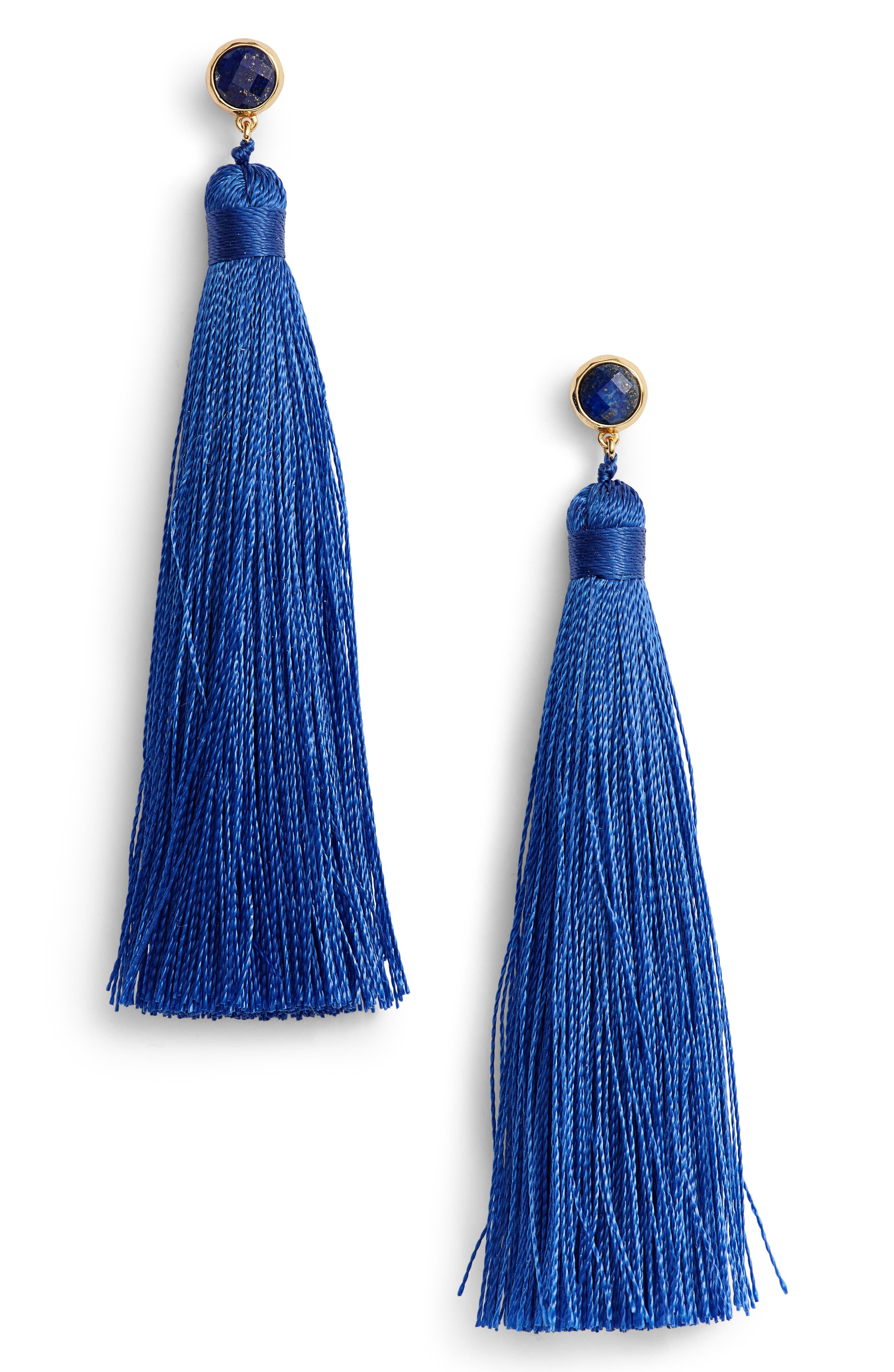Tulum Tassel Earrings,                         Main,                         color, Royal Blue/ Gold