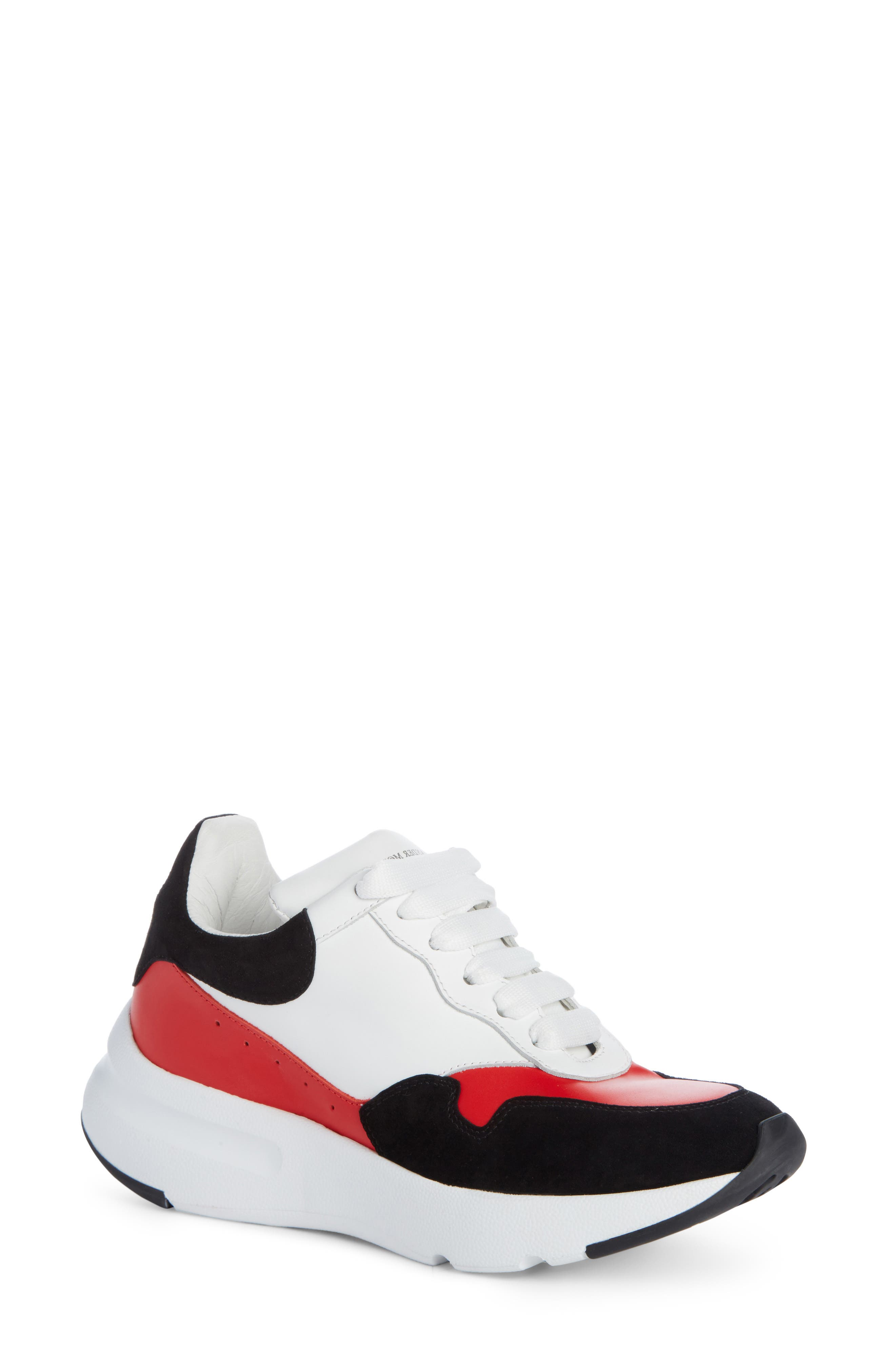 Runner Lace-Up Sneaker,                             Main thumbnail 1, color,                             Black/ Red/ White