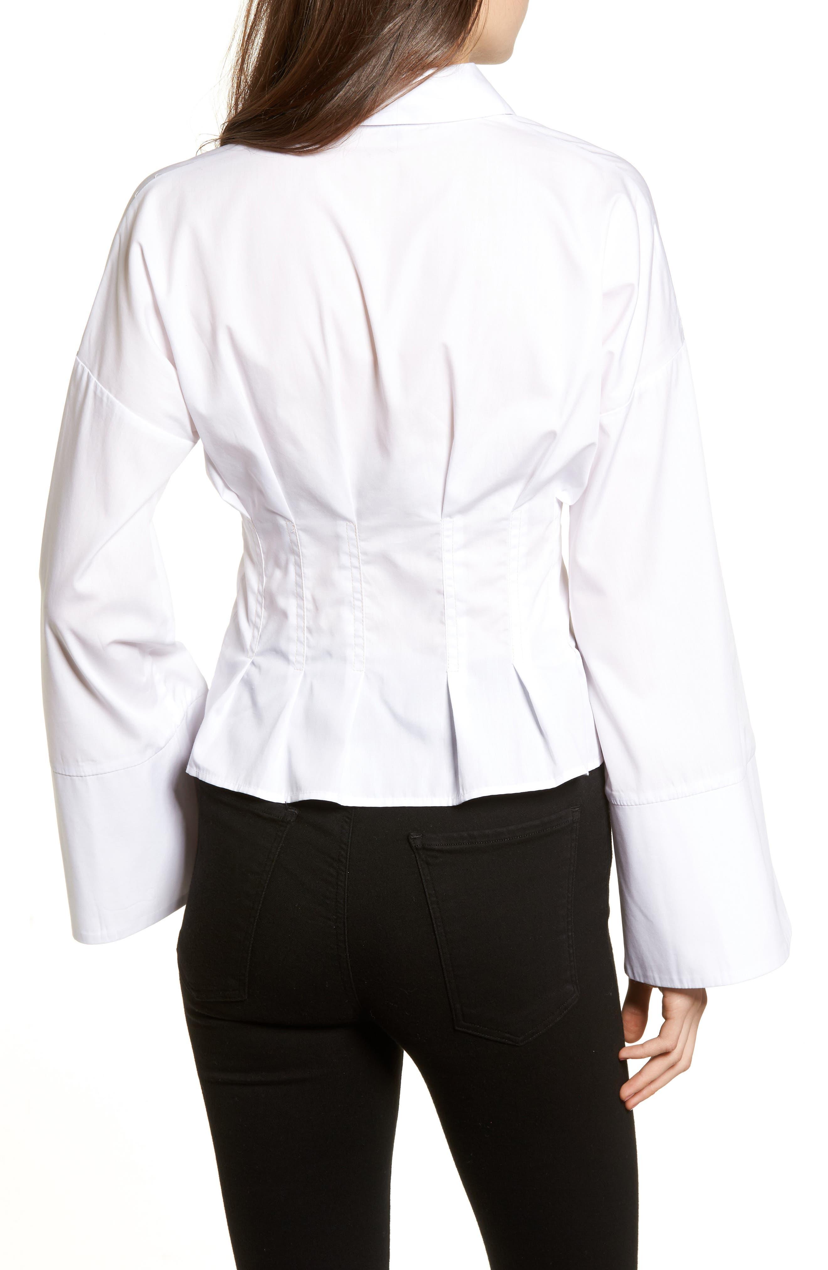 Tuck Waist Corset Shirt,                             Alternate thumbnail 2, color,                             Ivory