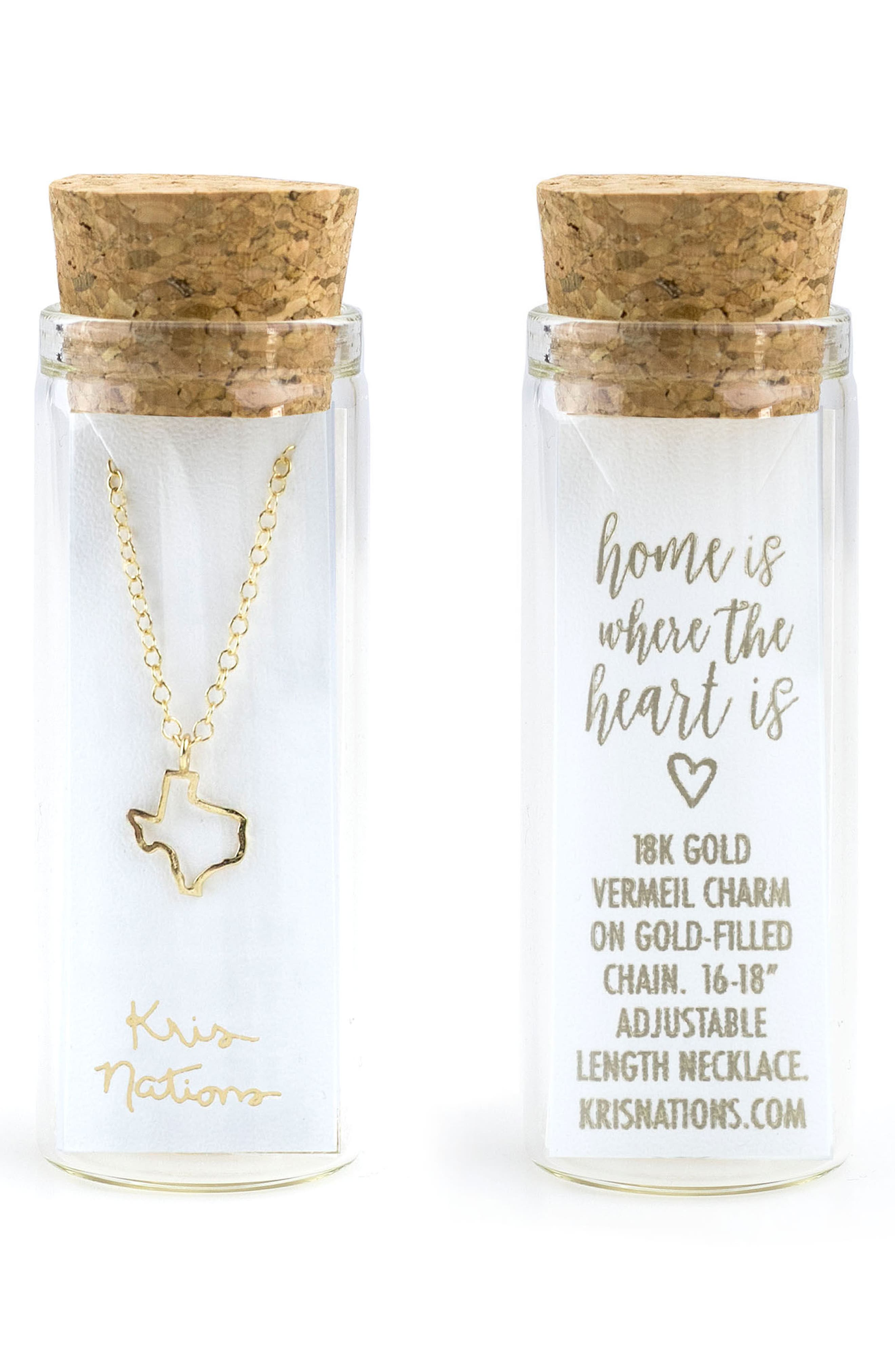 Texas Outline Charm Necklace,                             Alternate thumbnail 2, color,                             Texas - Gold