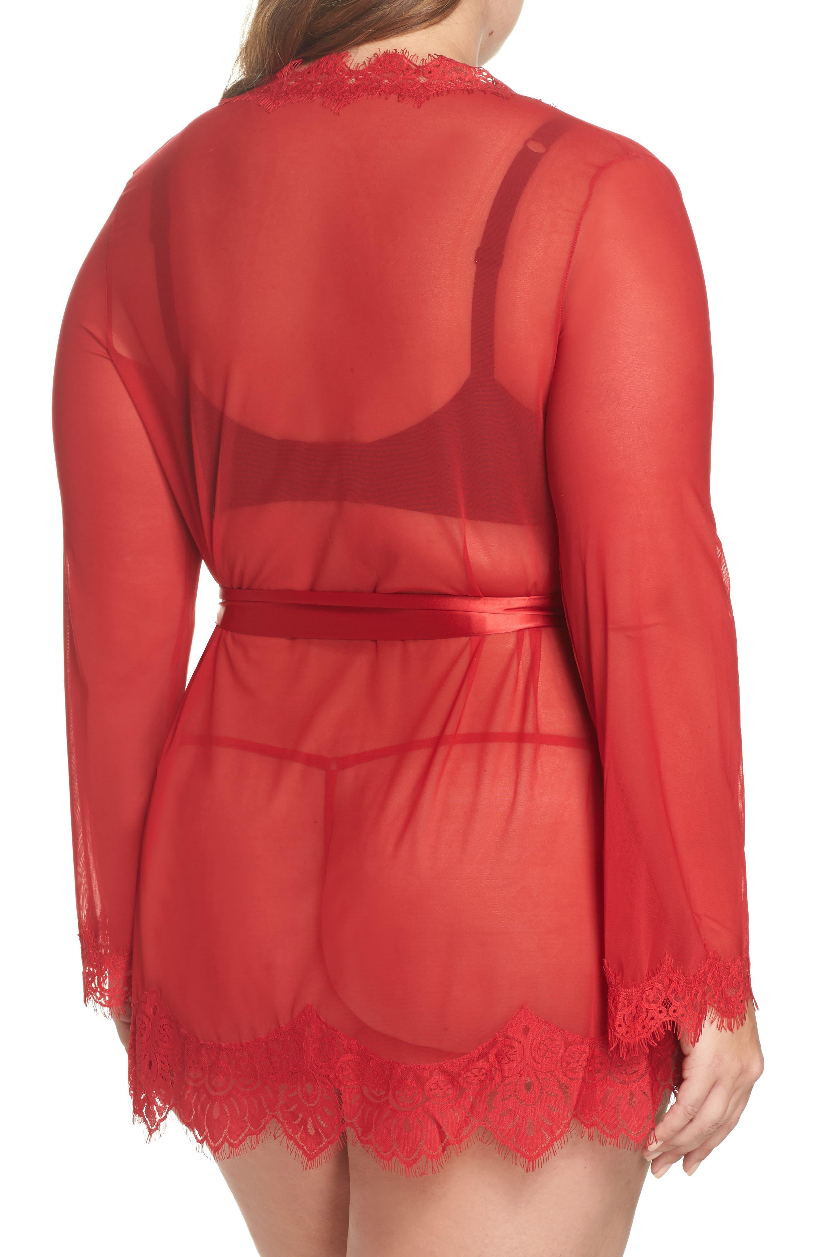 Alternate Image 2  - Oh La La Cheri Eyelash Lace Robe & G-String (Plus Size)