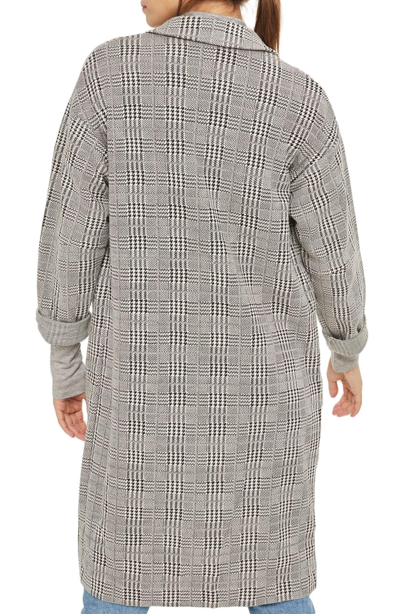 Alternate Image 2  - Topshop Check Jersey Duster Coat