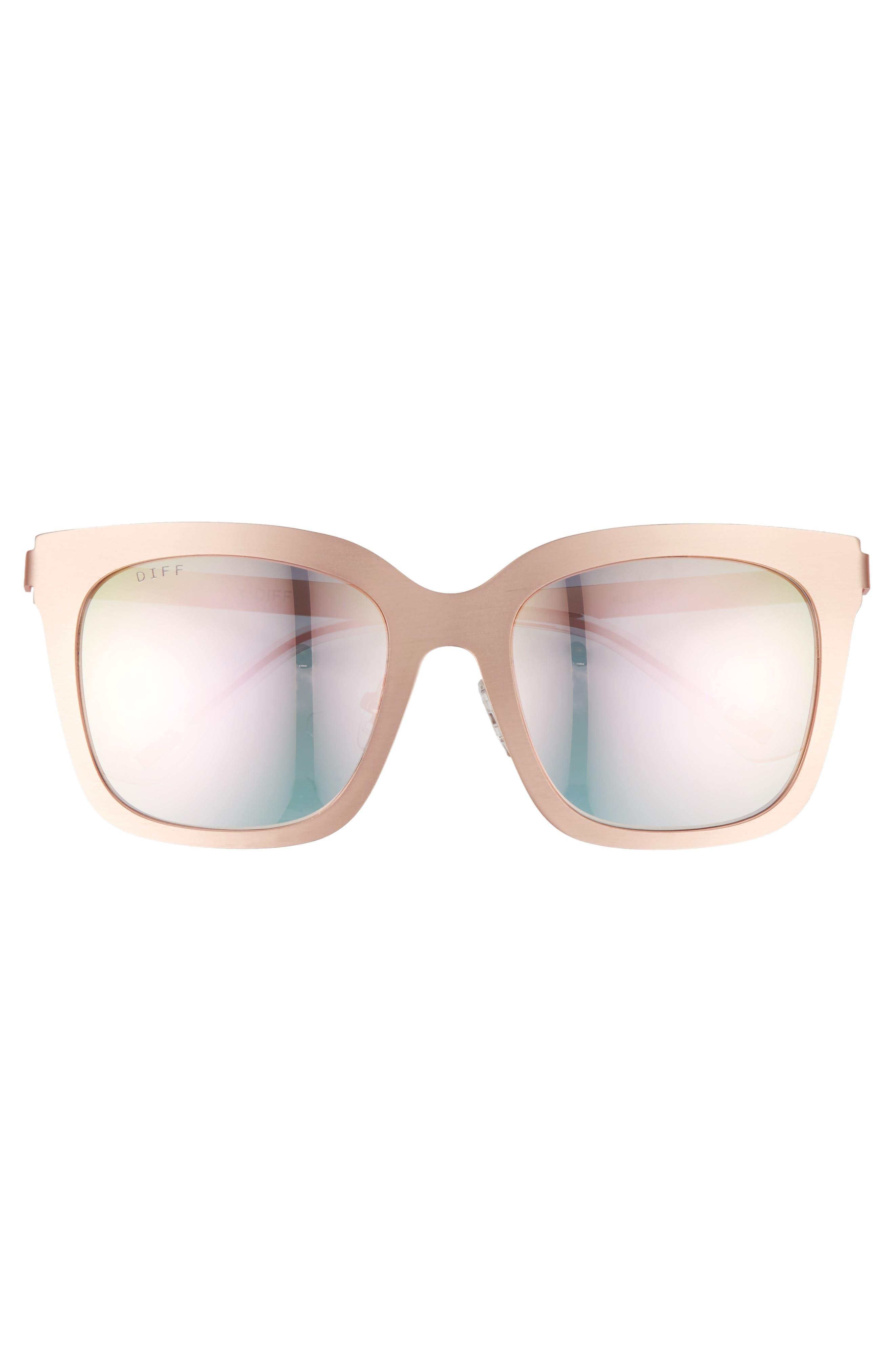 x Lauren Akins Ella 53mm Sunglasses,                             Alternate thumbnail 4, color,                             Rose Gold/ Pink