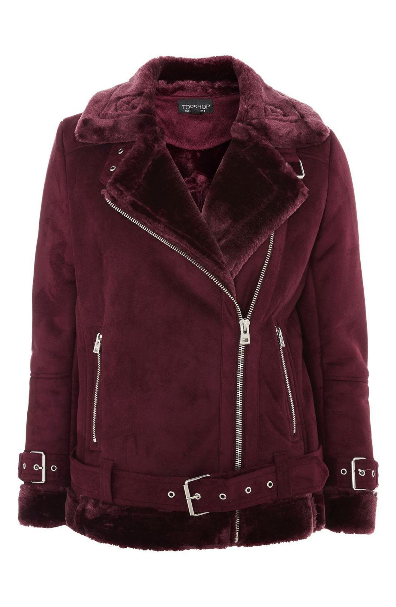 Alternate Image 5  - Topshop Cooper Faux Shearling Biker Jacket