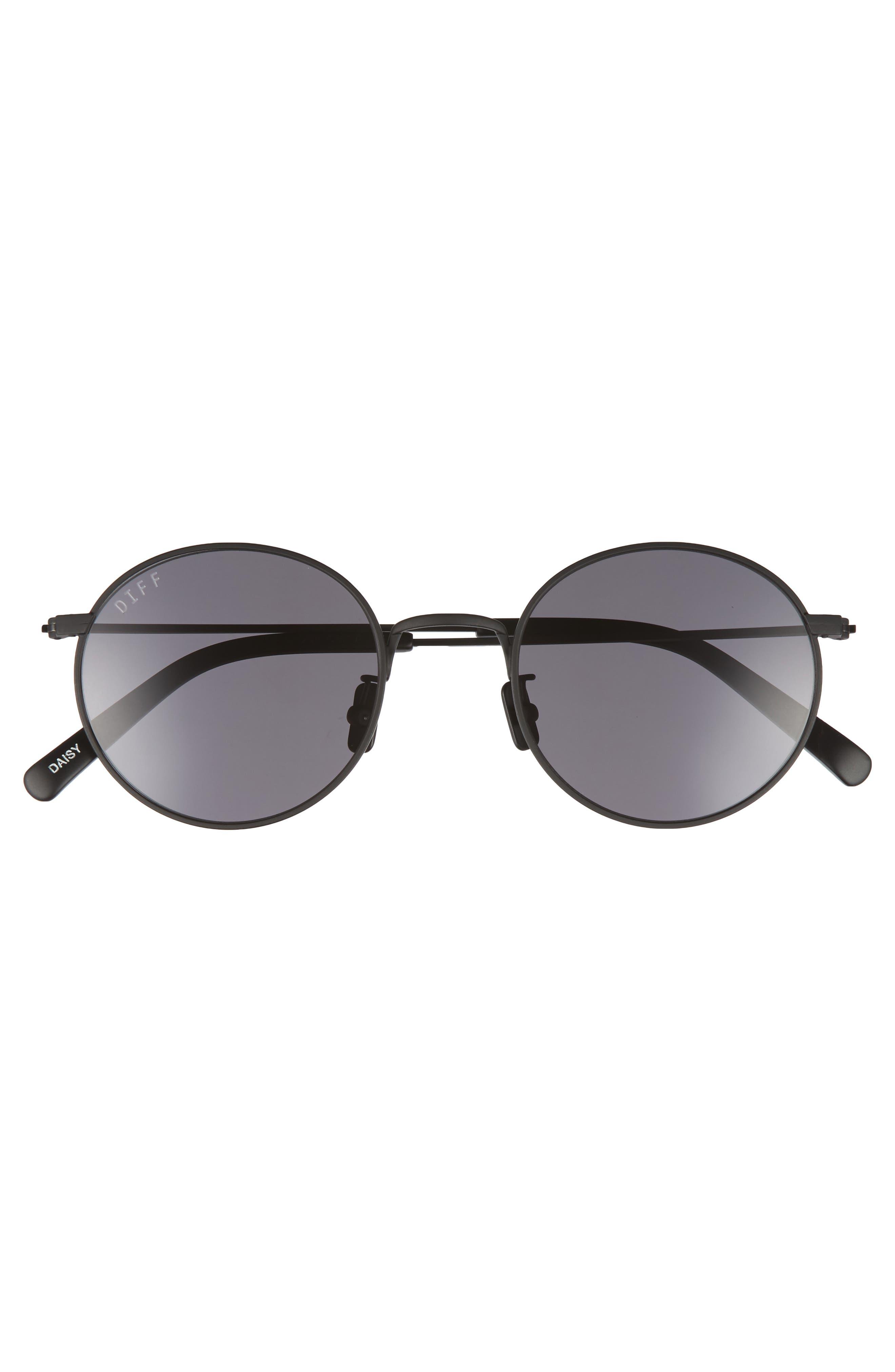 Daisy 51mm Round Sunglasses,                             Alternate thumbnail 3, color,                             Matte Black/ Grey