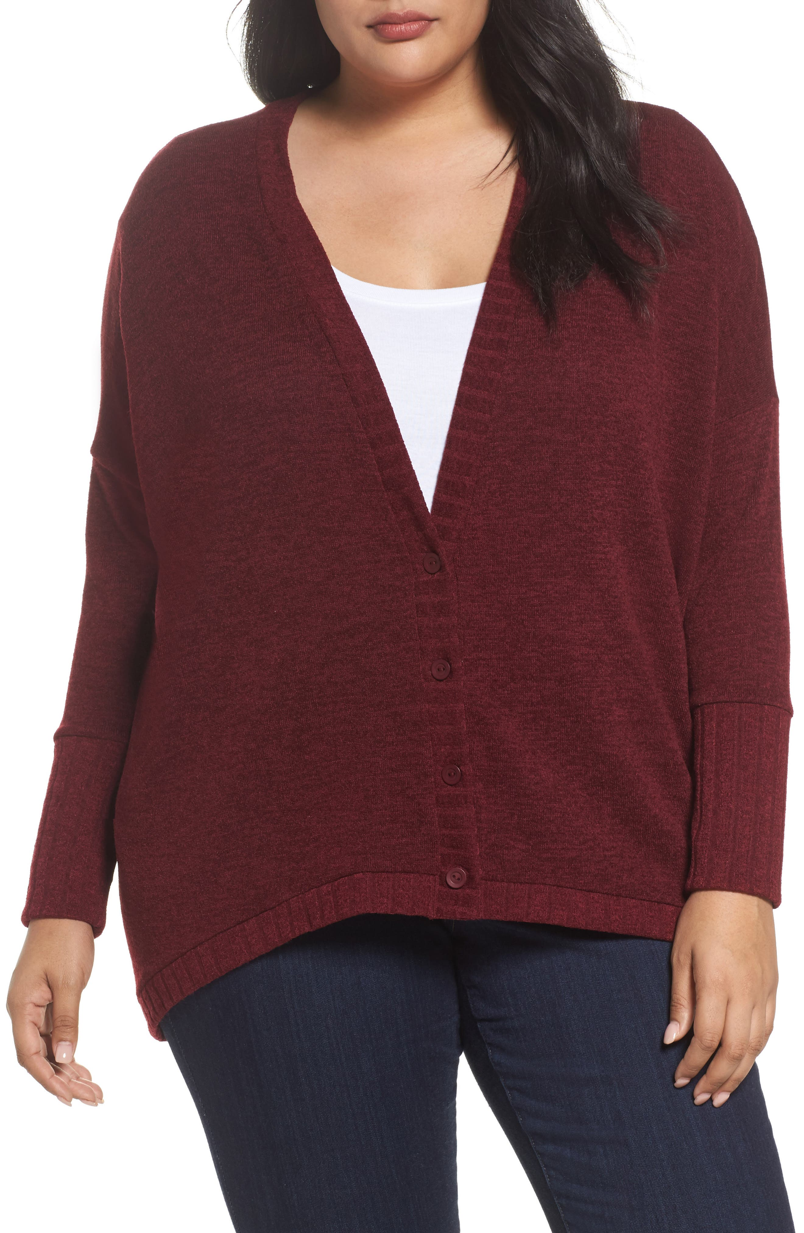 Hacci High/Low Cardigan,                         Main,                         color, Red Tannin