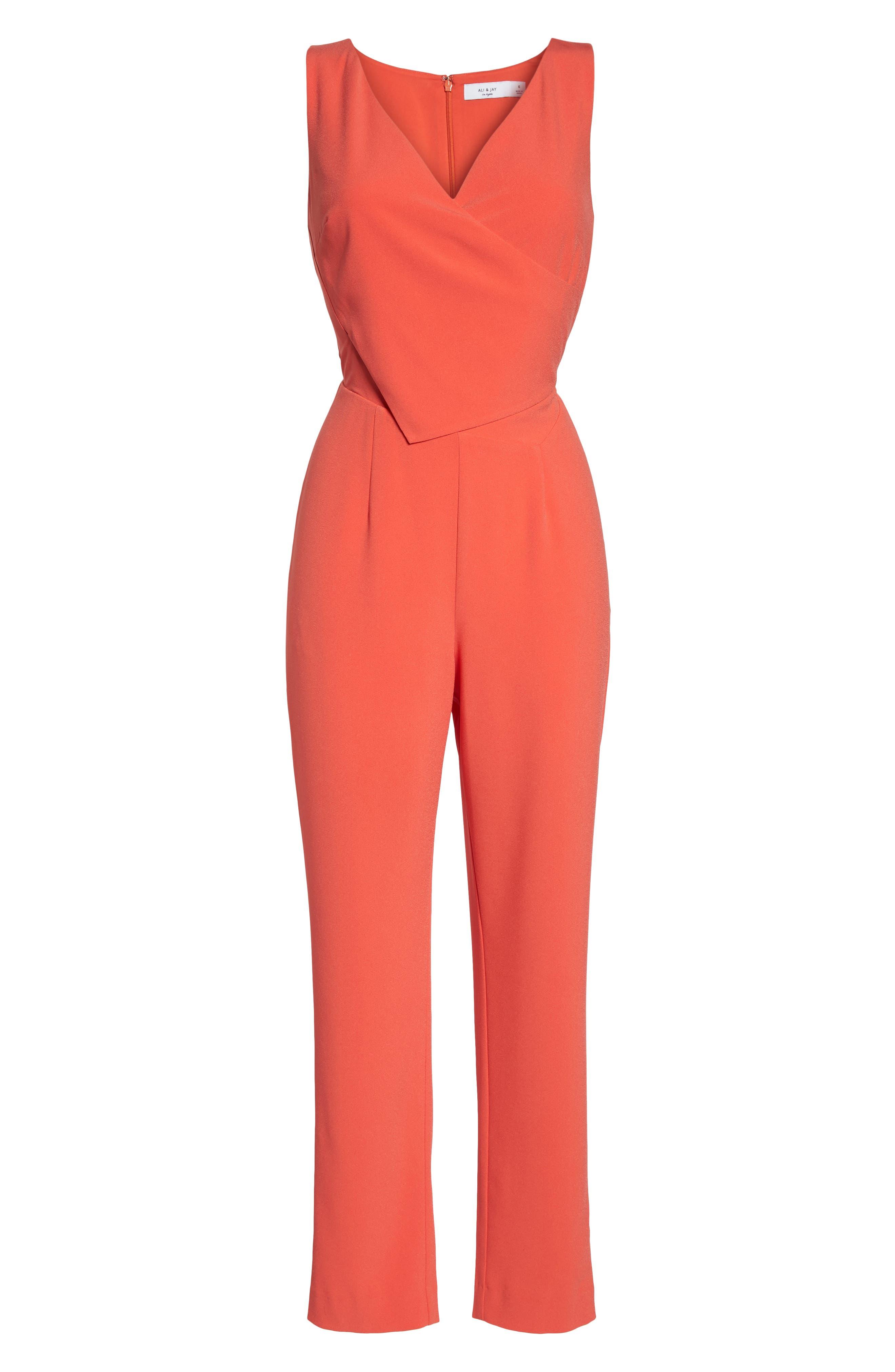 Asymmetrical Pleat Jumpsuit,                             Alternate thumbnail 3, color,                             Coral
