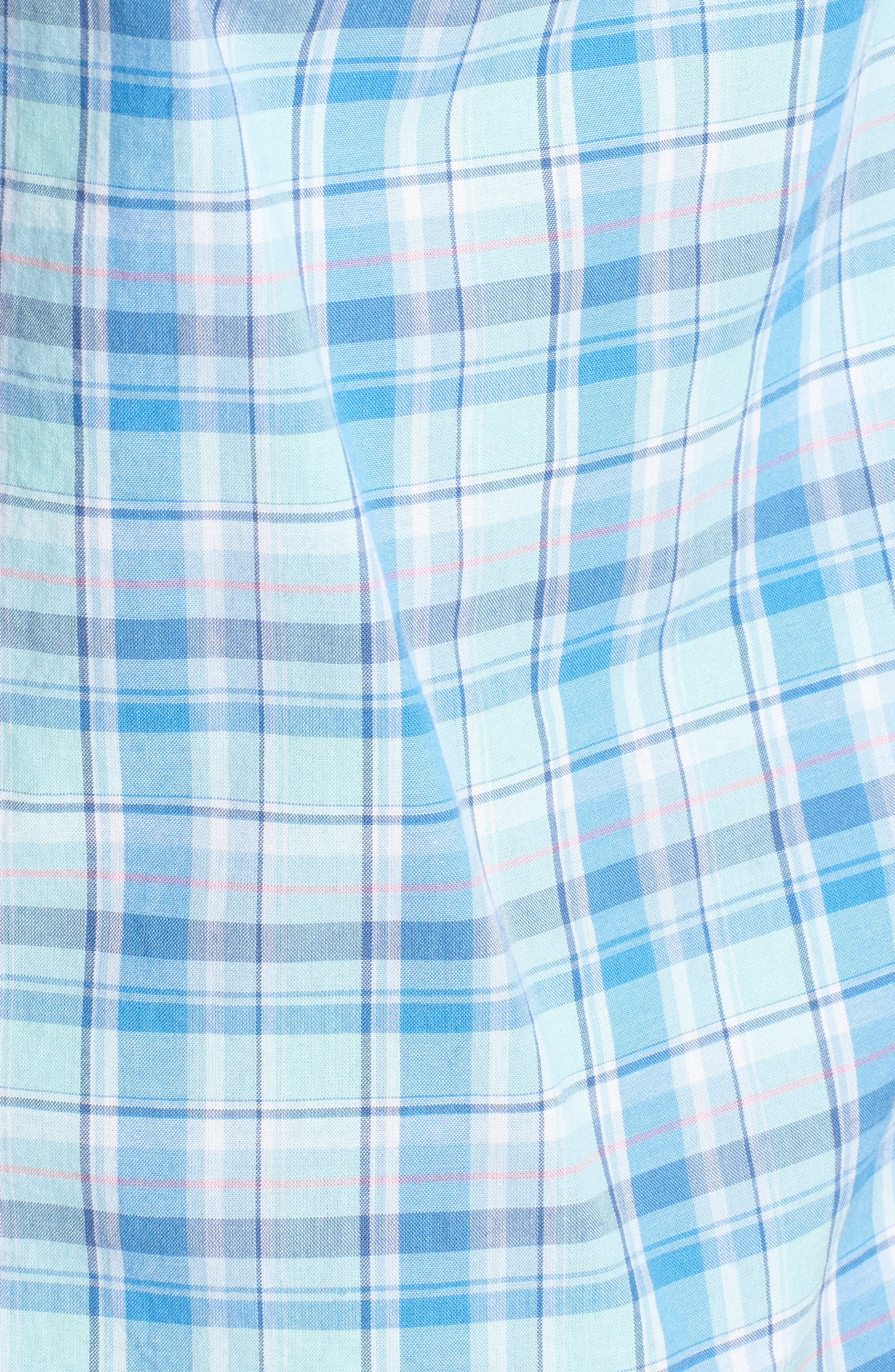 Murray Pine Island Slim Fit Plaid Sport Shirt,                             Alternate thumbnail 5, color,                             Sea Splash
