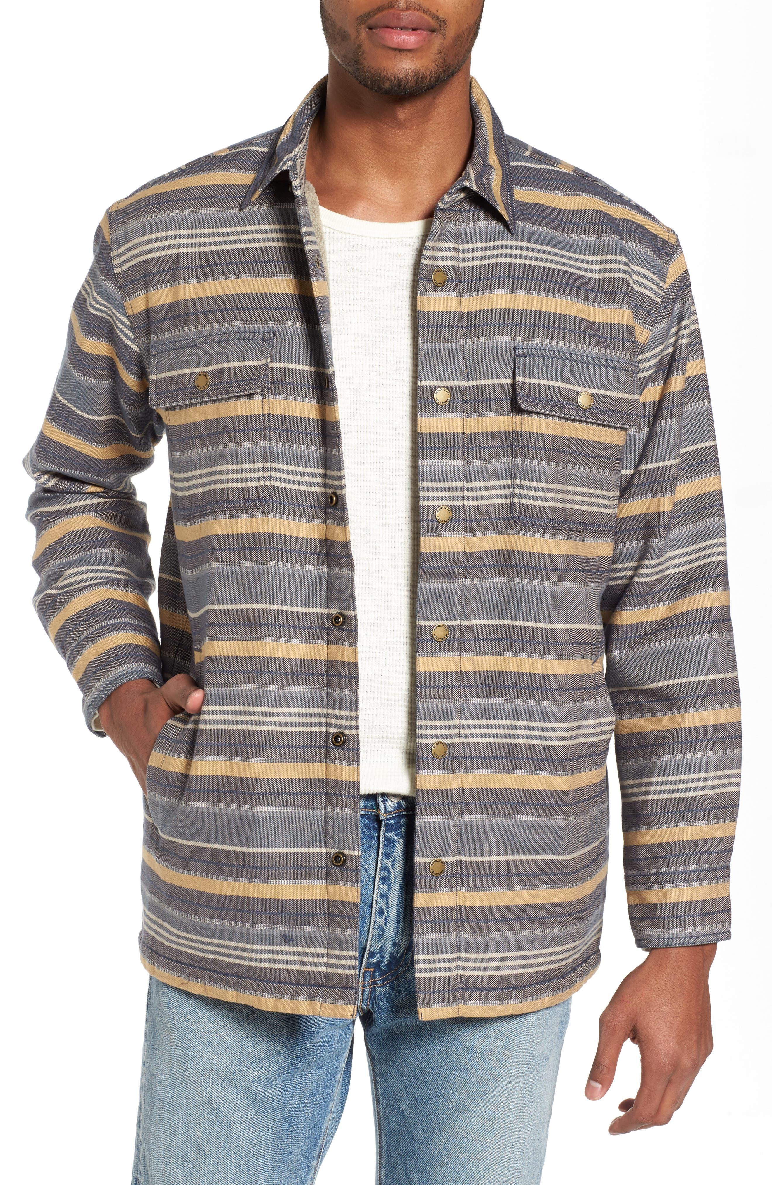 Fleece Lined Shirt Jacket,                         Main,                         color, Blue Stripe