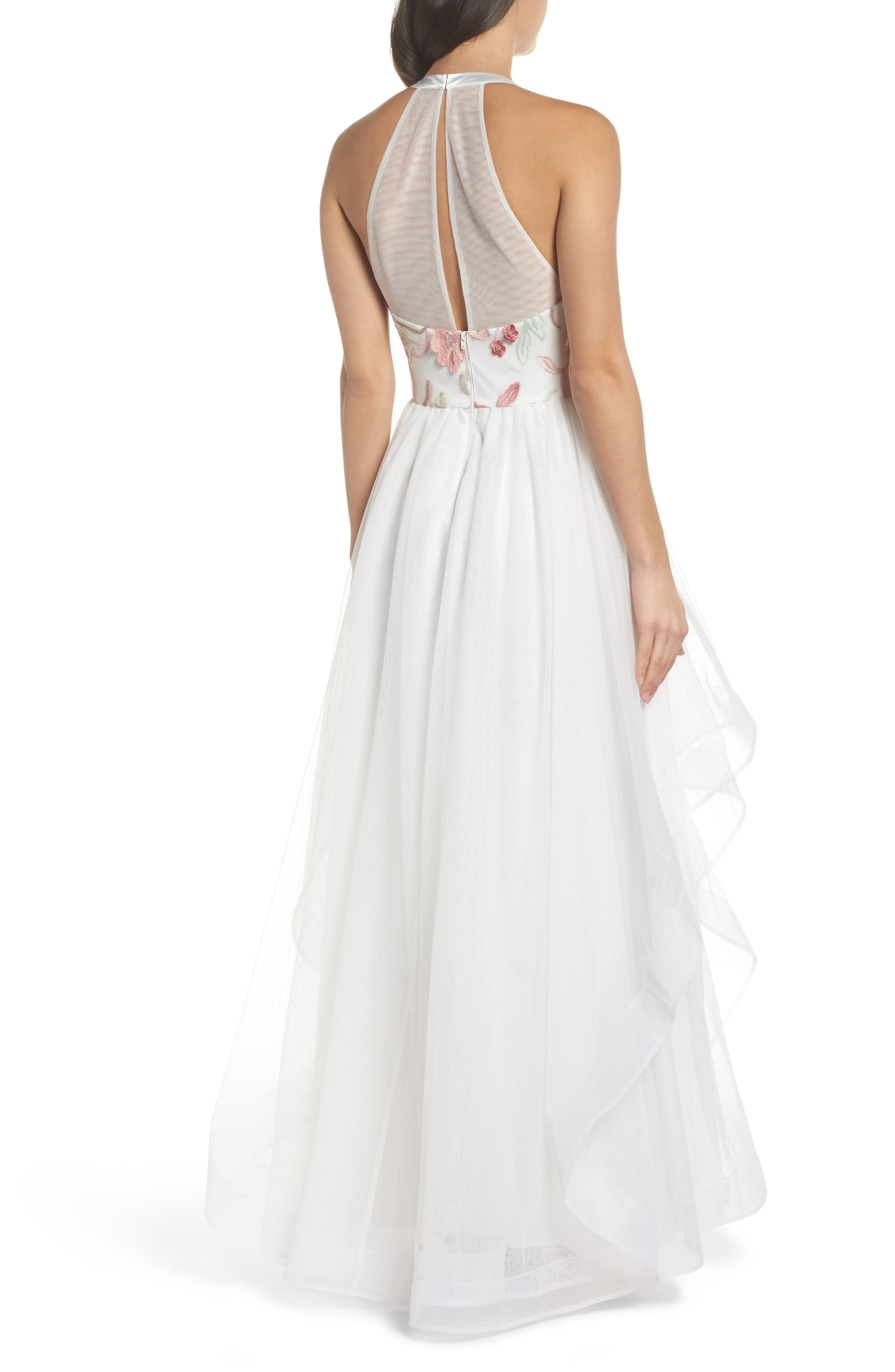 Embroidered Mesh & Tulle Halter Gown,                             Alternate thumbnail 2, color,                             Ivory/ Blush